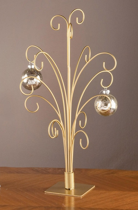 """20"""" GOLD Toned Metal CHRISTMAS ORNAMENT DISPLAY TREE STAND ..."""