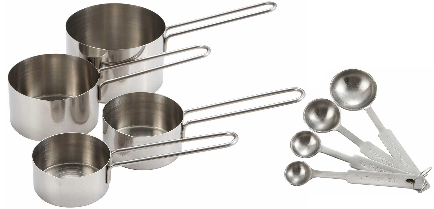 8 piece stainless steel measuring cup and measuring spoon kitchen utensil set ebay. Black Bedroom Furniture Sets. Home Design Ideas