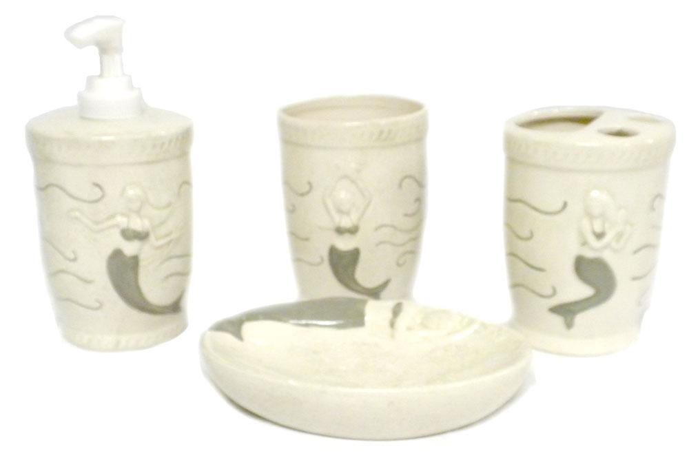Mermaid Bathroom Decor And Accessories: CERAMIC Mermaid 4PC Bathroom SET Tumbler SOAP Dish