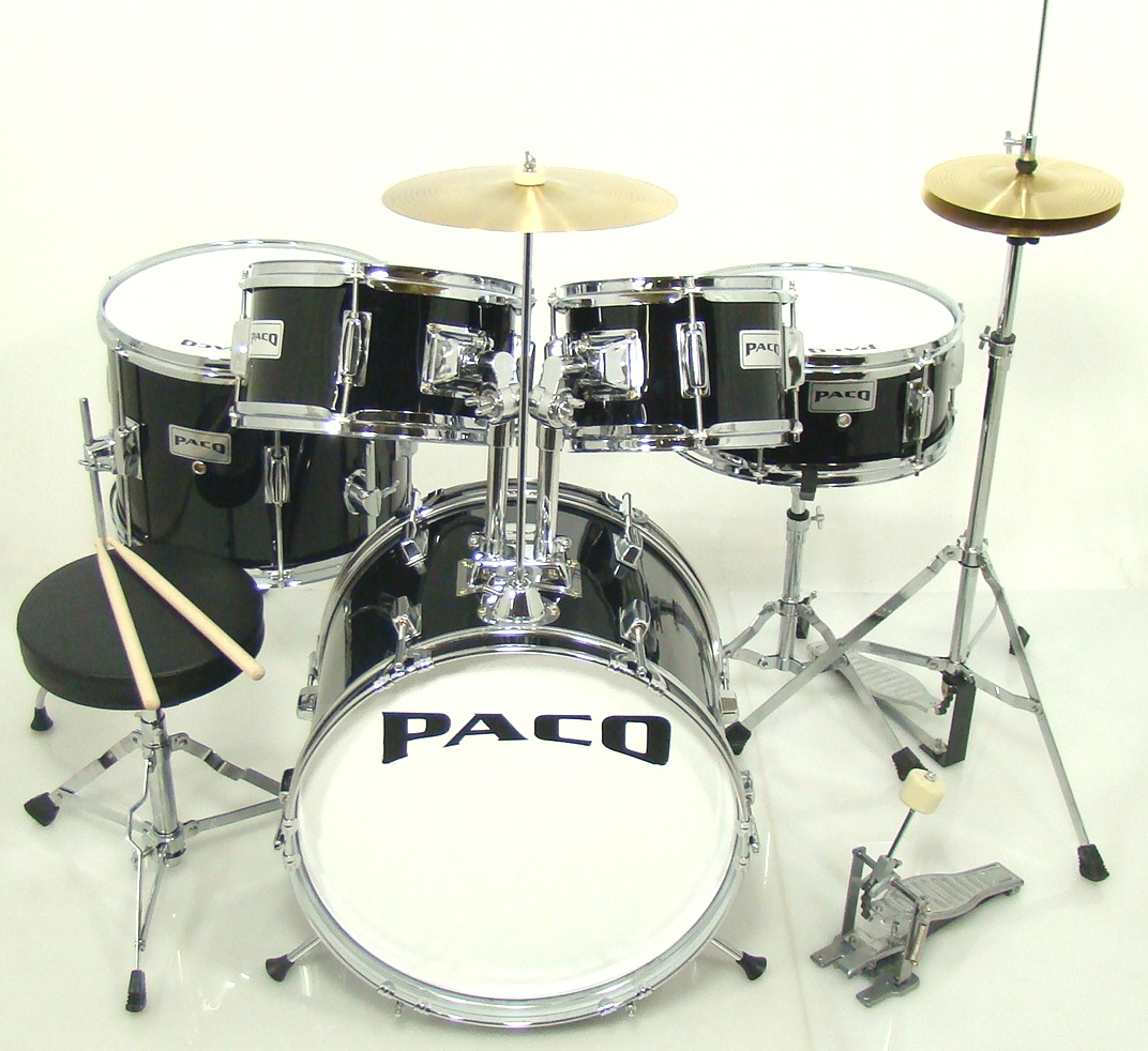 paco 5 piece junior drum set in black. Black Bedroom Furniture Sets. Home Design Ideas
