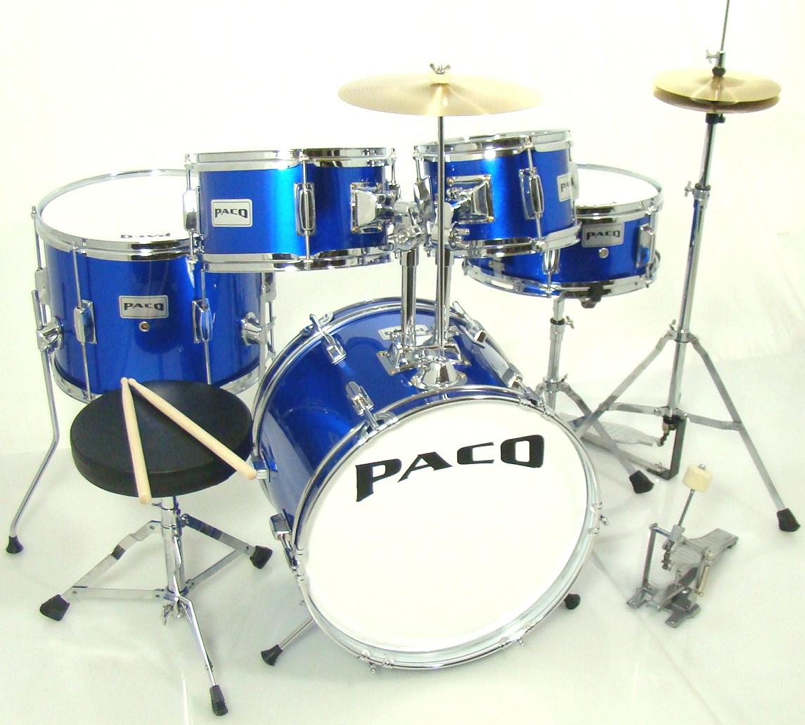 paco 5 piece junior drum set in blue ebay. Black Bedroom Furniture Sets. Home Design Ideas