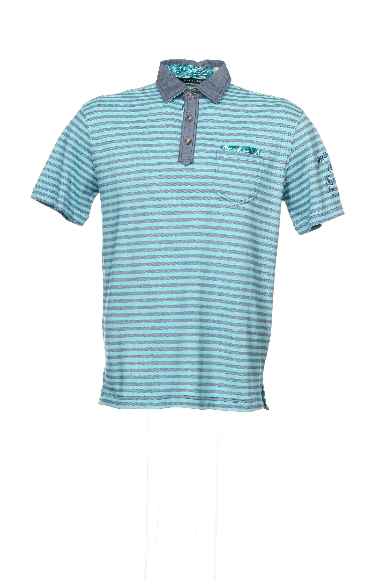 6a90a2e723bb NWT Sean John Blue Horizontal Striped Polo Shirt Golf XL  58