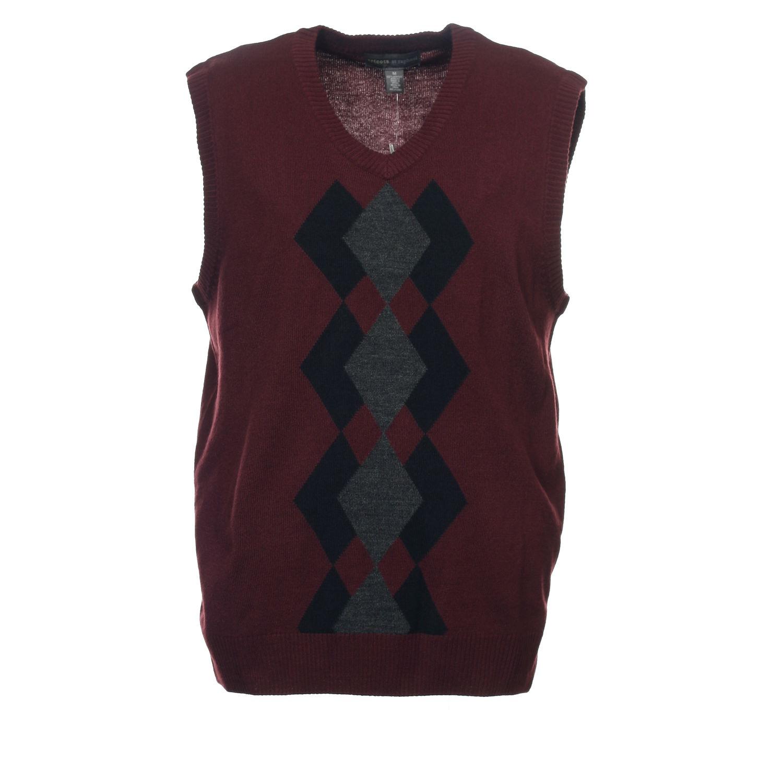 Tricots St Raphael Burgundy Argyle Sweater Vest M $65 | eBay
