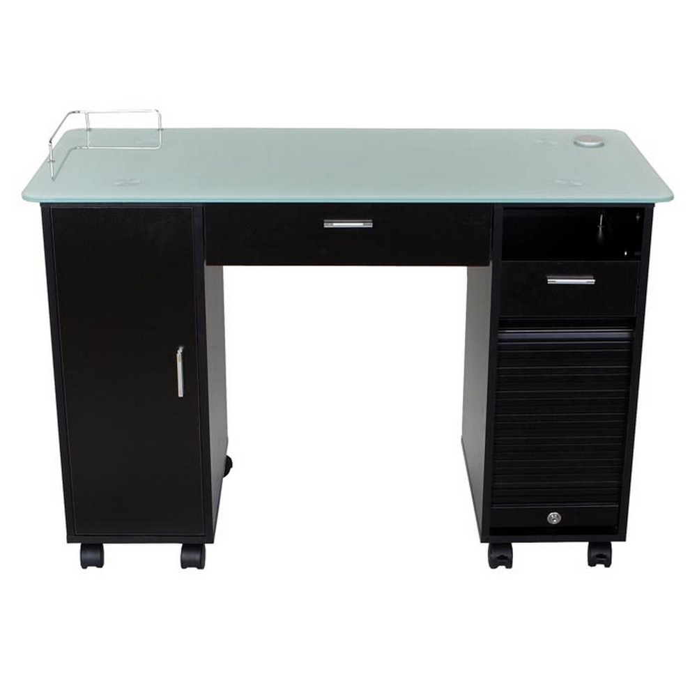New Lockable Black Nail Salon Manicure Table Mf 18b Ebay