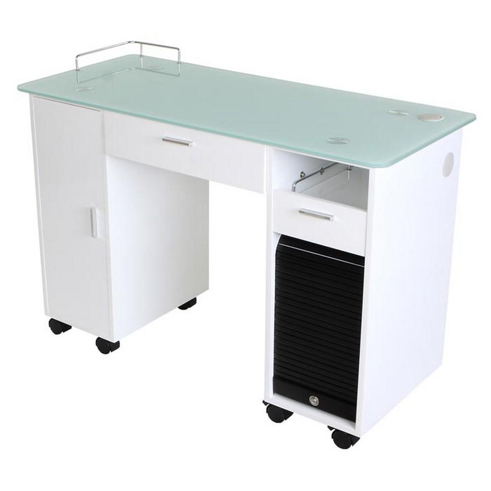 New Lockable White Nail Salon Manicure Table Mf 18w Ebay