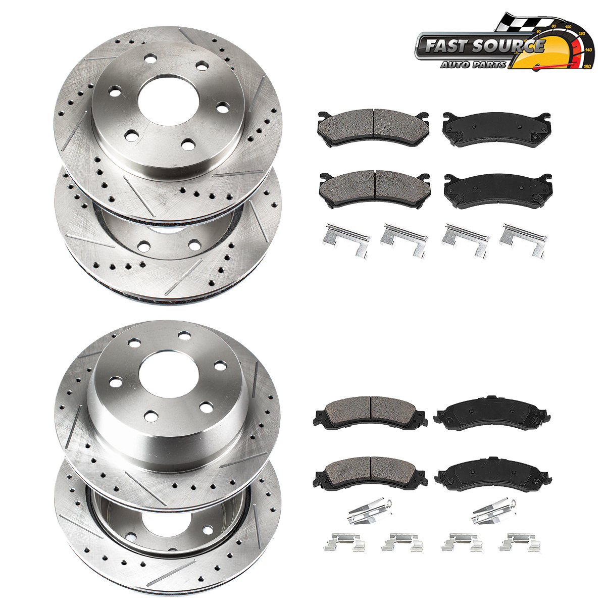 Ceramic Pads /& Rear Brake Drums Shoes For Tahoe Yukon 2WD Front Brake Rotors