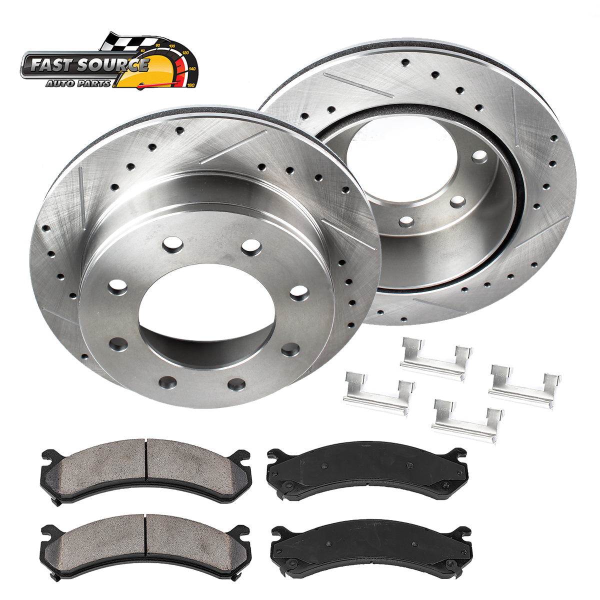 REAR Drill And Slot BRAKE Rotors For 2WD 4WD 1500 2500 3500 8Lug