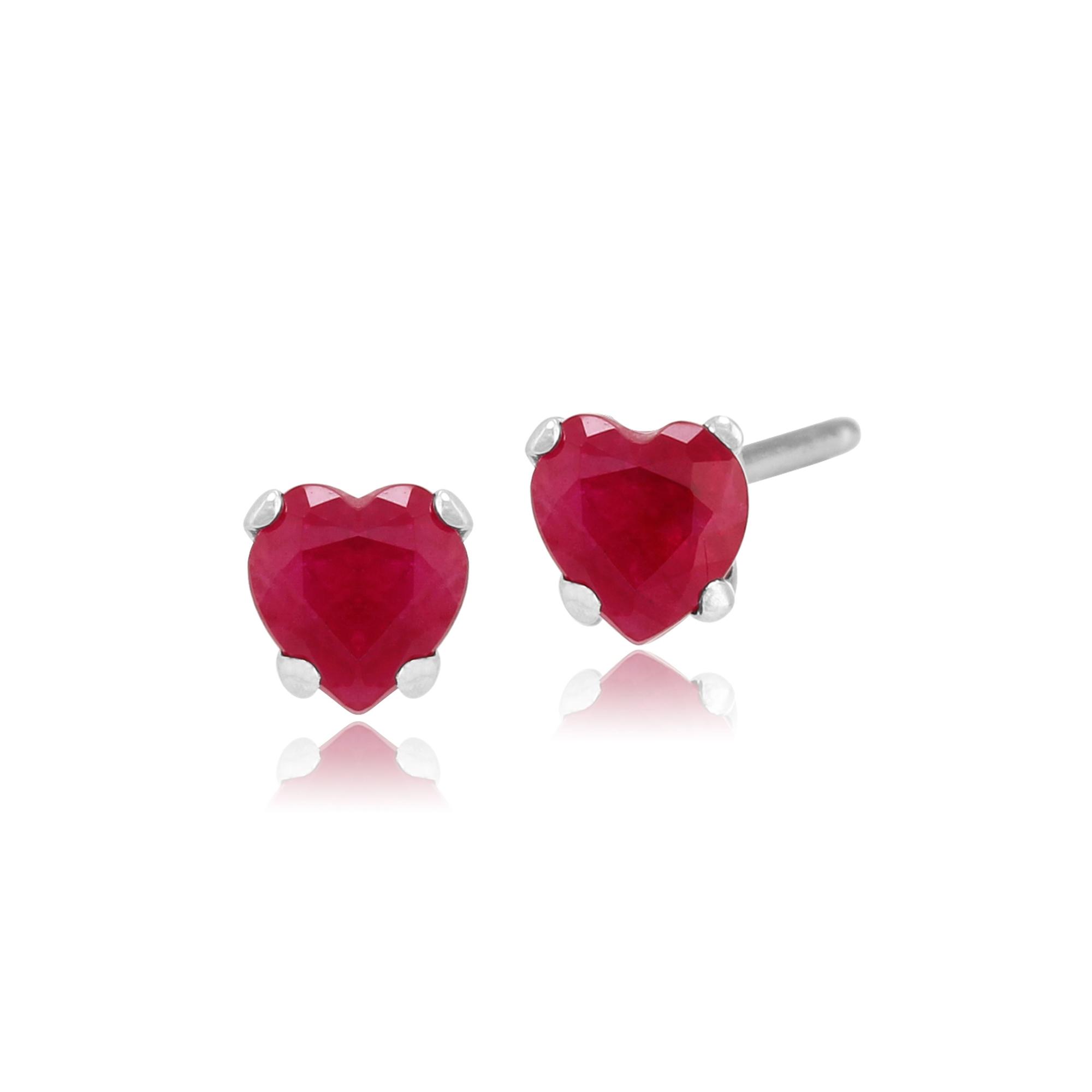 créé Blanc Saphir Pendentif en forme de cœur en argent sterling 1//2 Ct Natural Red Ruby