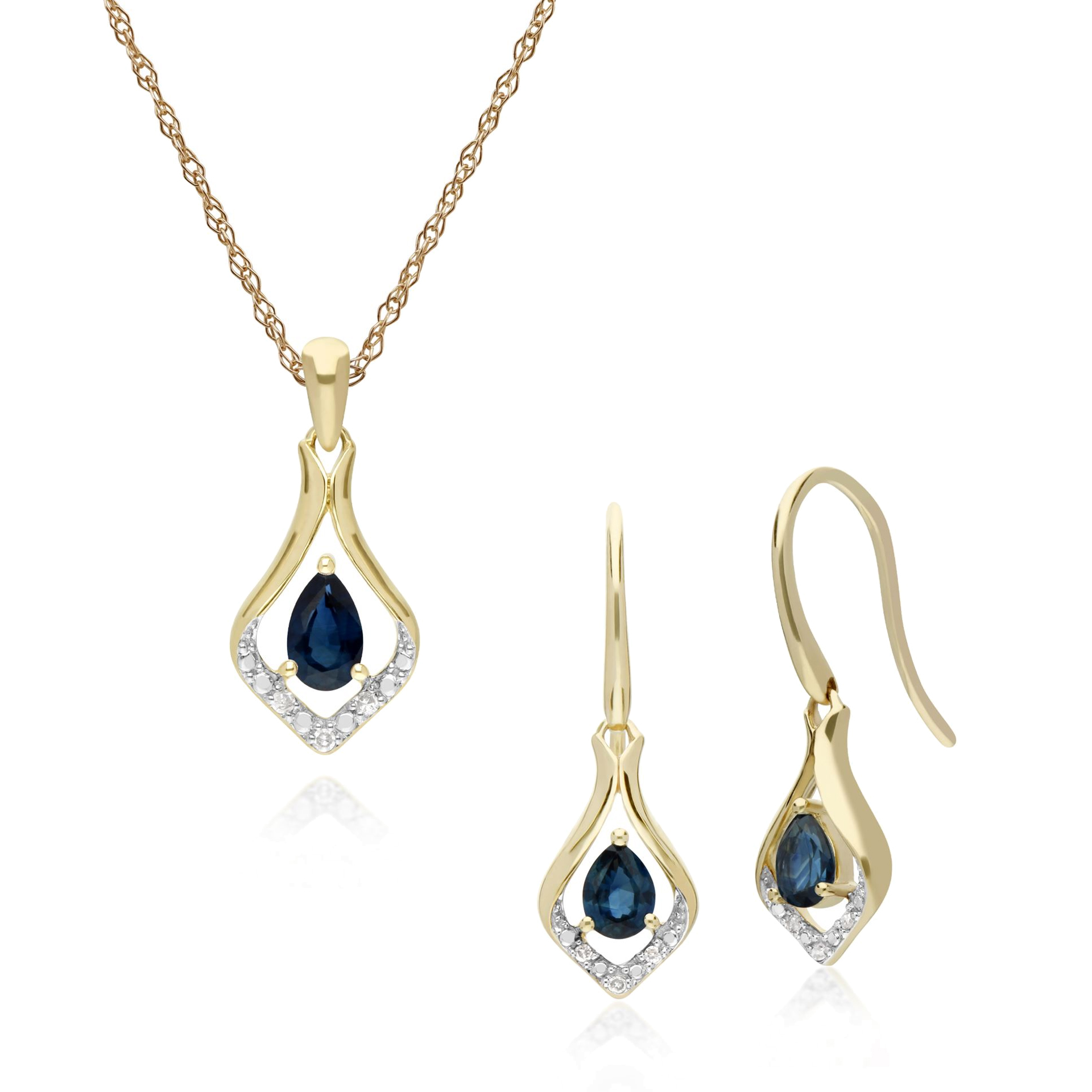 3821c22ea 9ct Yellow Gold Sapphire & Diamond Leaf Drop Earring & 45cm Necklace Set.  Item SKU: 135E1577029-135P1915029