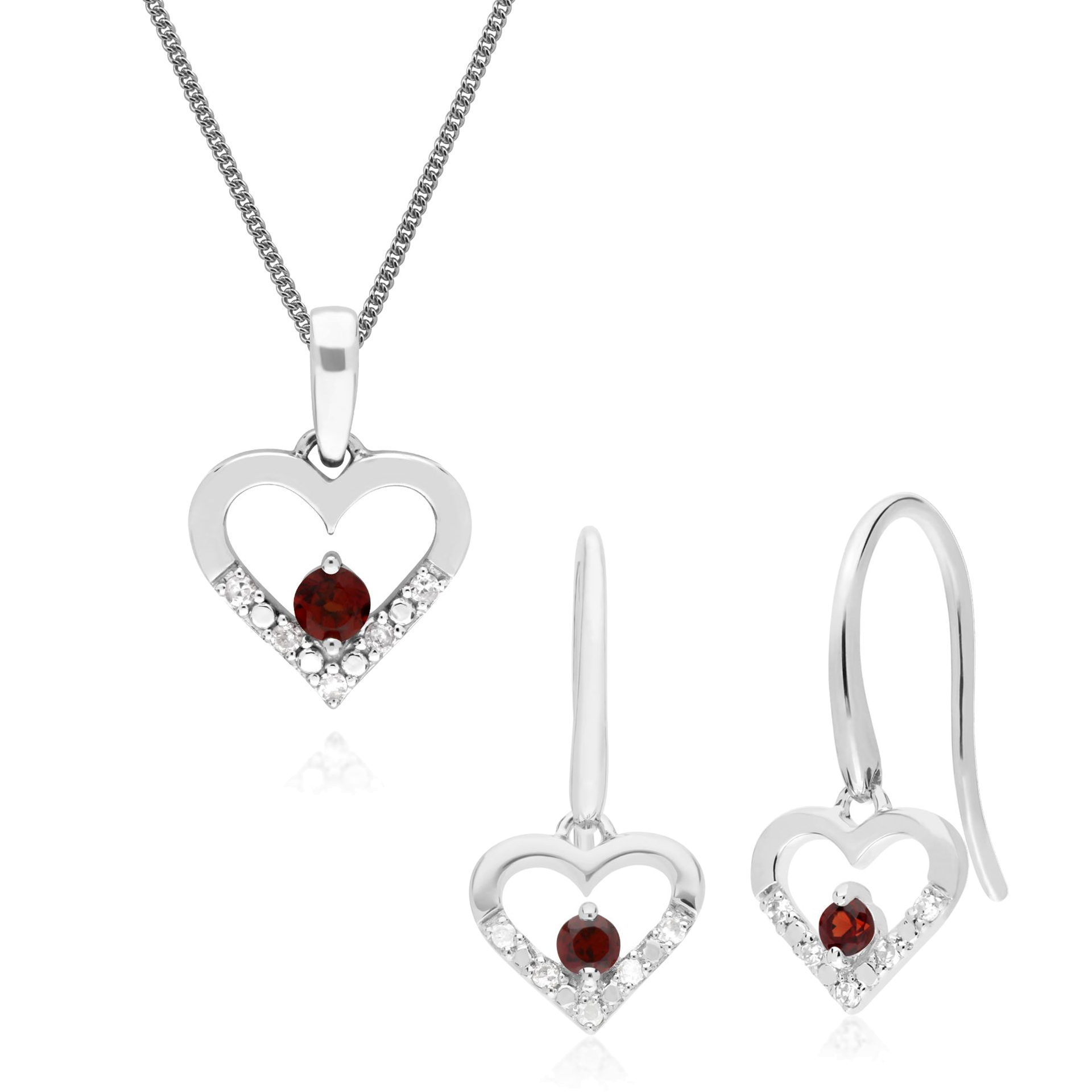 471448b9e Details about 9ct White Gold Garnet & Diamond Heart Drop Earrings & 45cm  Necklace Set