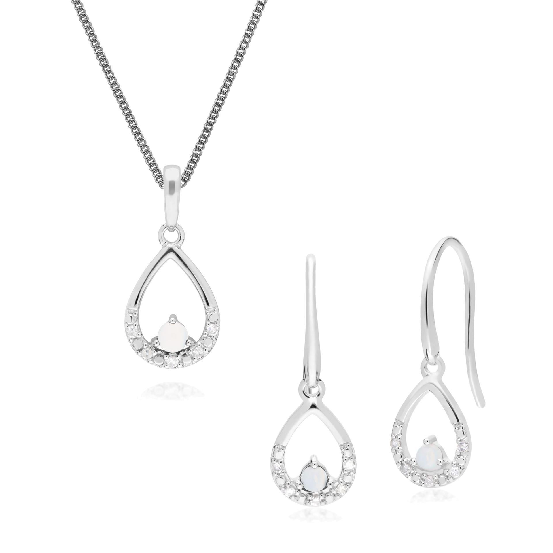 b54fefeb2 Details about 9ct White Gold Opal & Diamond Pear Drop Earrings & 45cm  Necklace Set