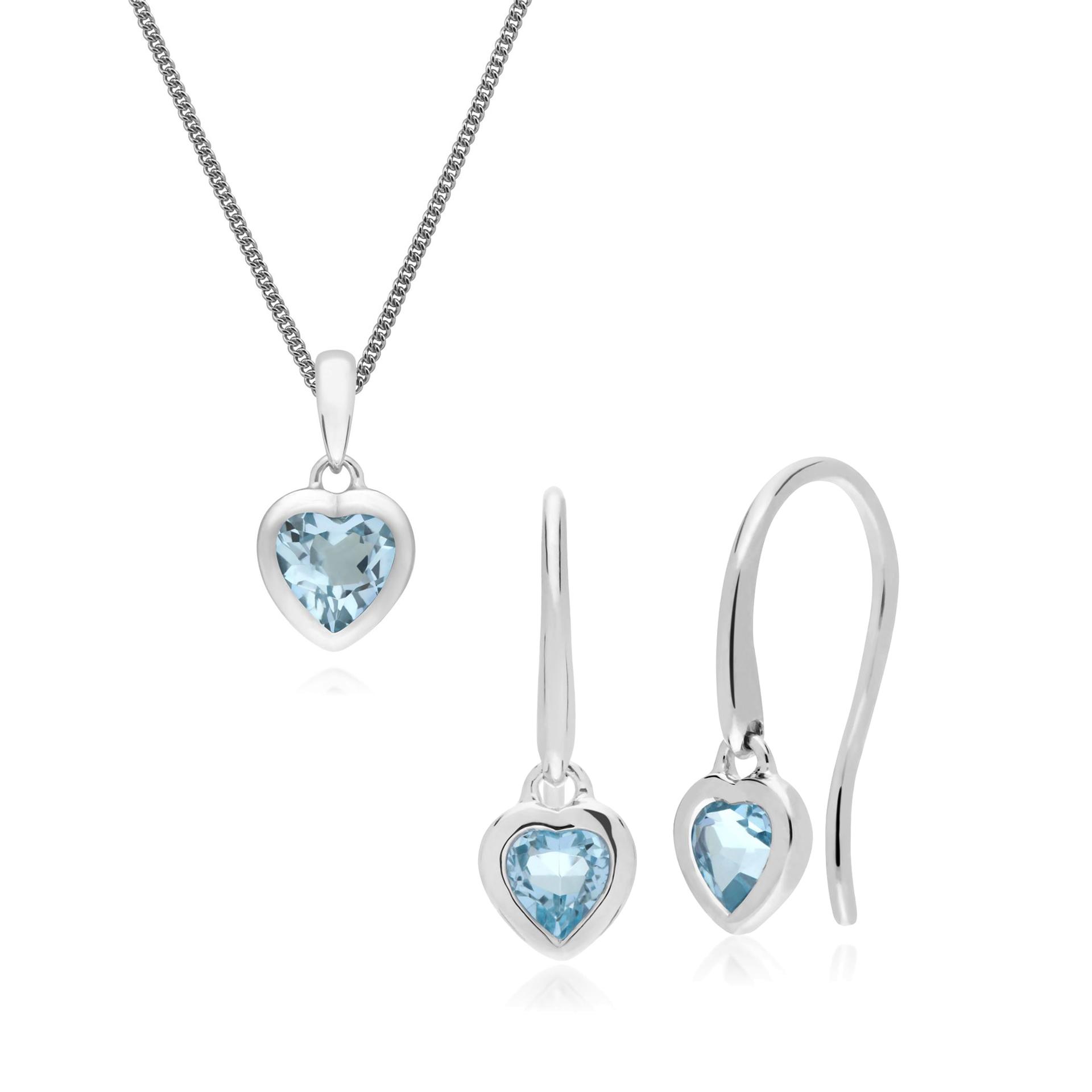 Sterling silver drop earrings set with blue topaz stones.