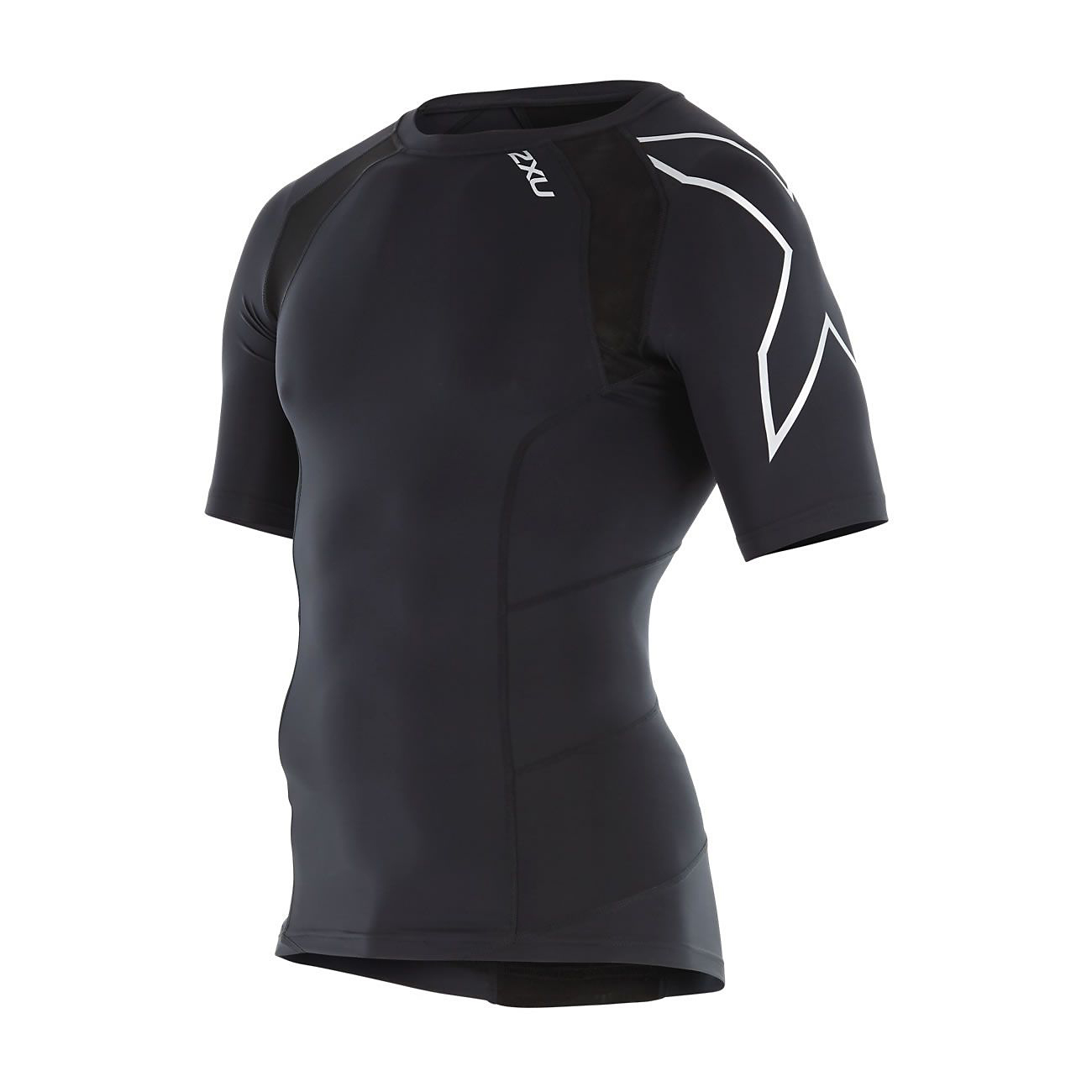 db3b4e5ccf41f Details about 2XU Men's Compression Short Sleeve Top Black/Silver Size  X-Large