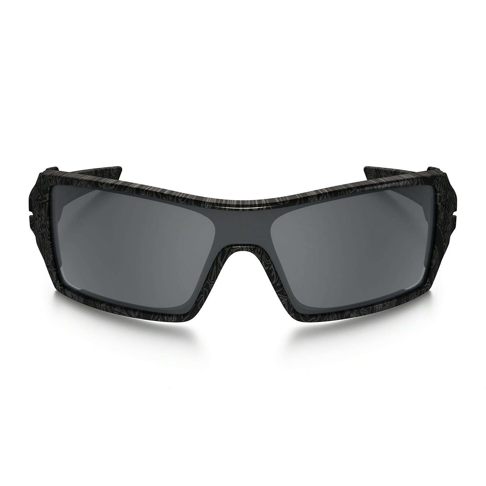 Oakley Oil Rig Polished Black Silver Ghost Text With Black Iridium