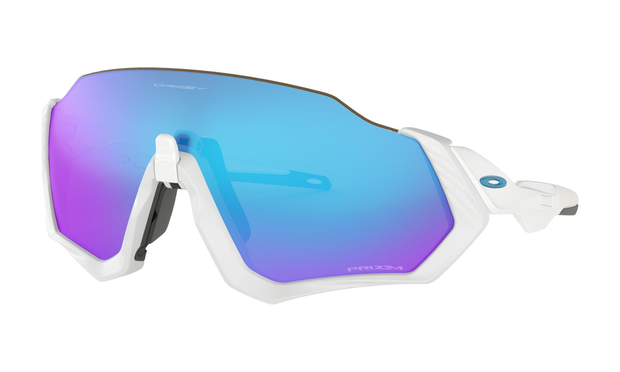 Oakley Flight Jacket Sunglasses Matte White/White W/ Prizm Sapphire
