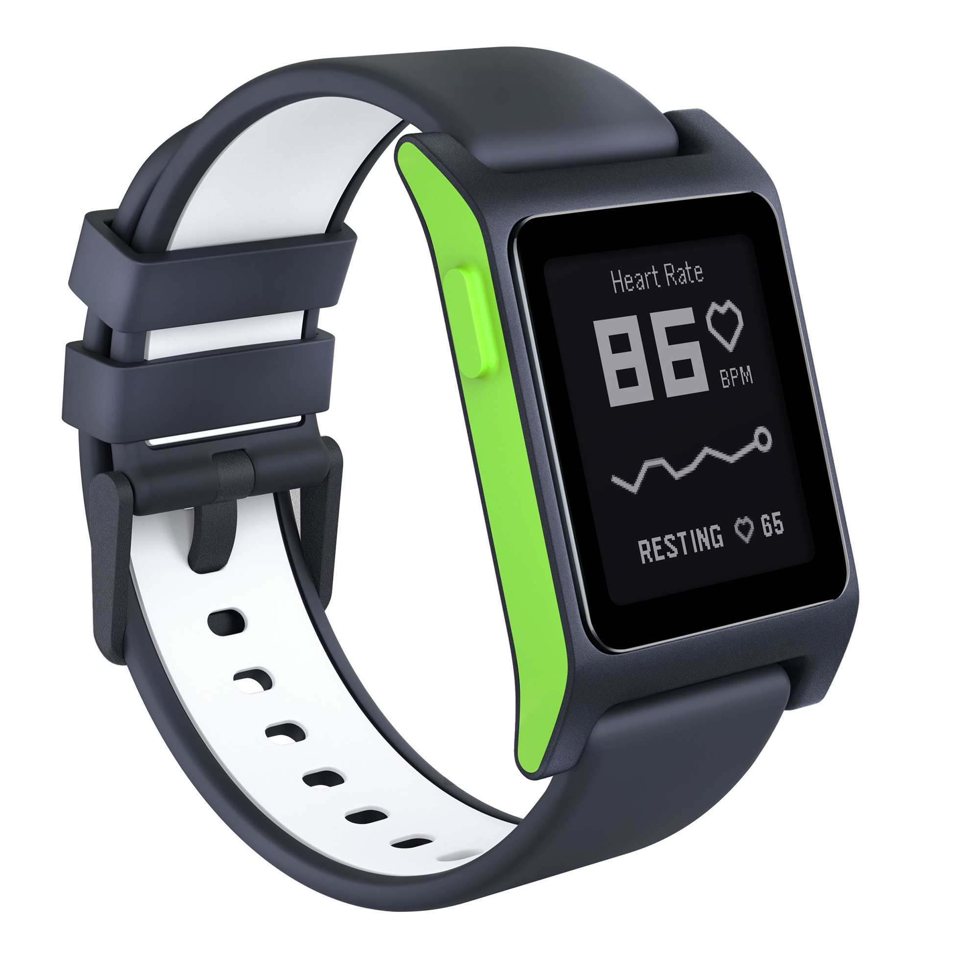 Pebble 2 Heart Rate Smartwatch Charcoal/ Lime