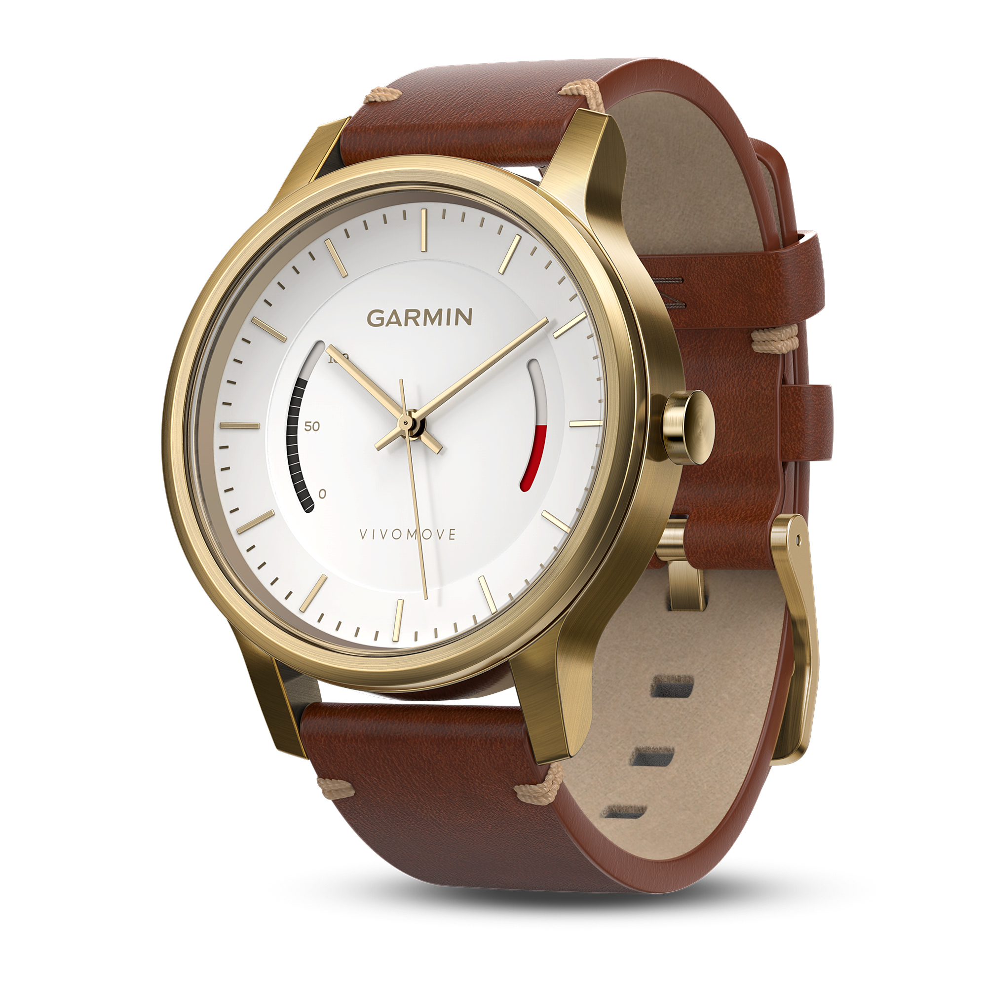560c5155618 Details about Garmin Vivomove Premium Activity Tracking Watch Gold-Tone  Steel w  Leather Band