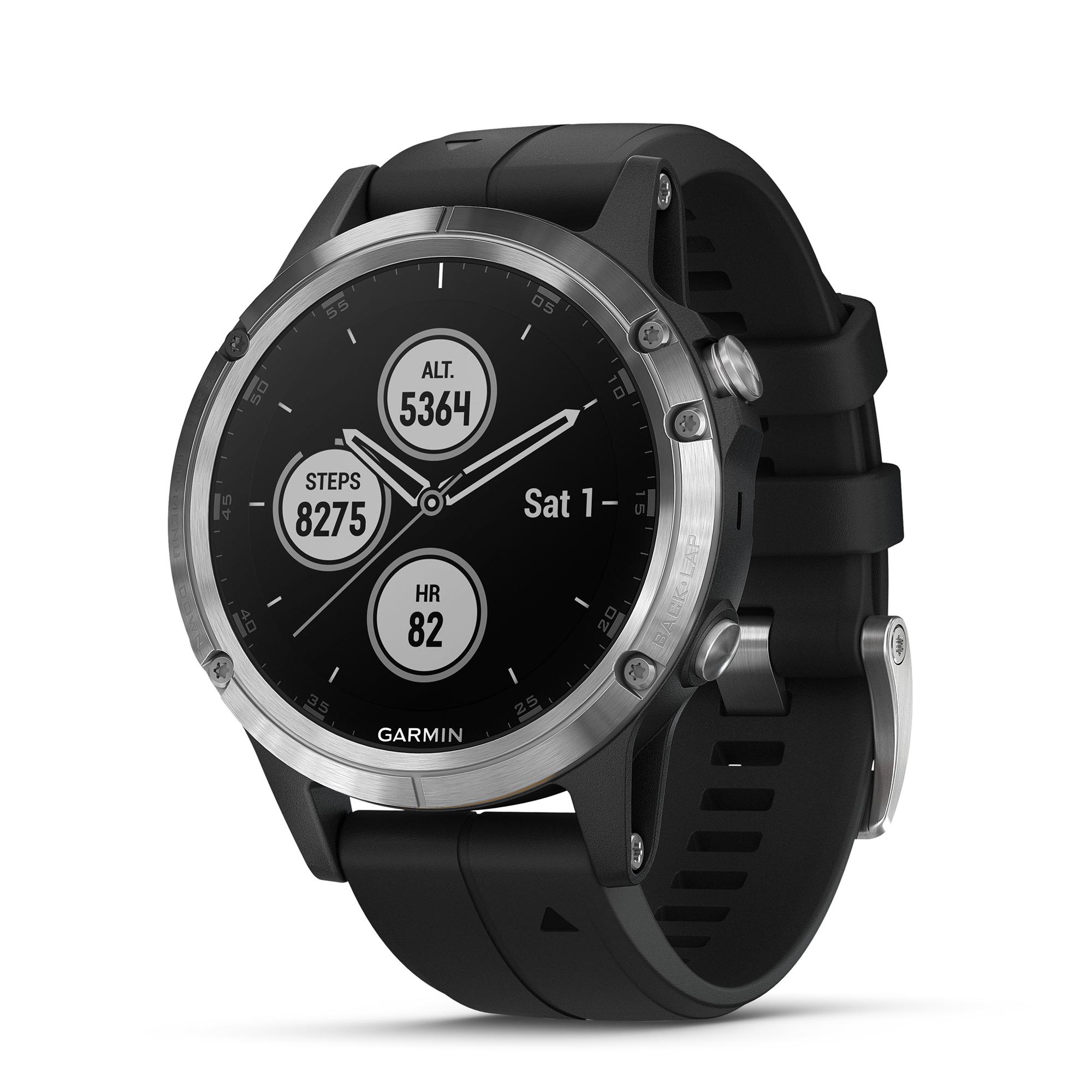 Details about Garmin fenix 5 Plus 47mm Glass Multisport GPS Watch  Silver/Black Band