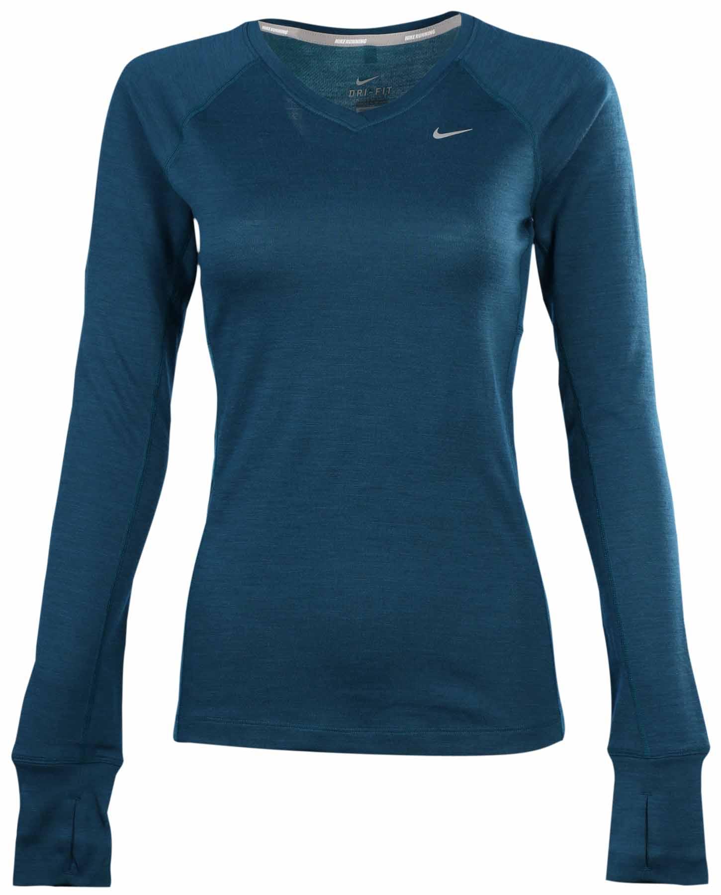 Nike Women's Dri-Fit Wool V-Neck Running Shirt-Silver   eBay