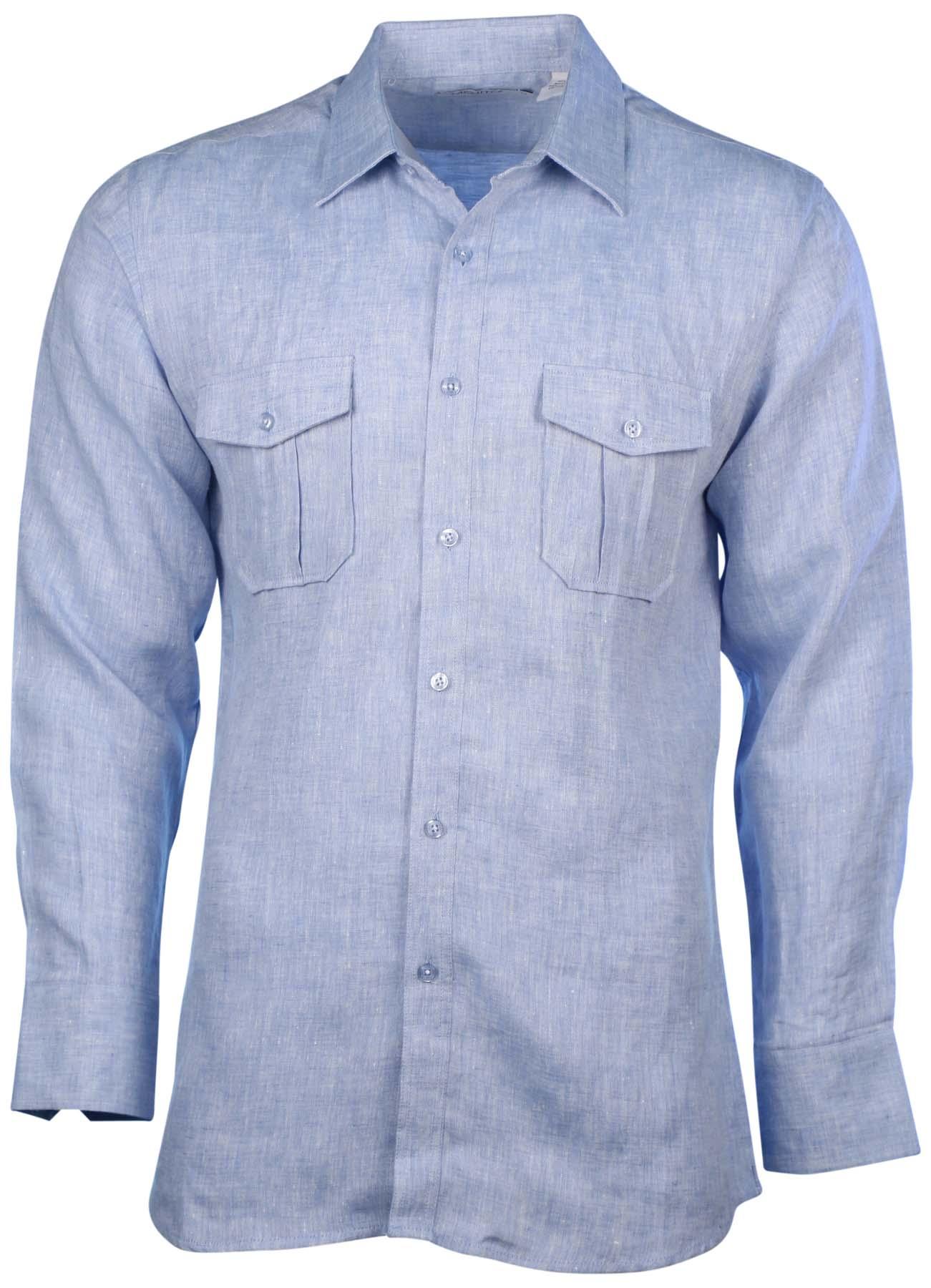 Mojito collection men 39 s linen 2 pocket long sleeve button for Linen long sleeve shirt