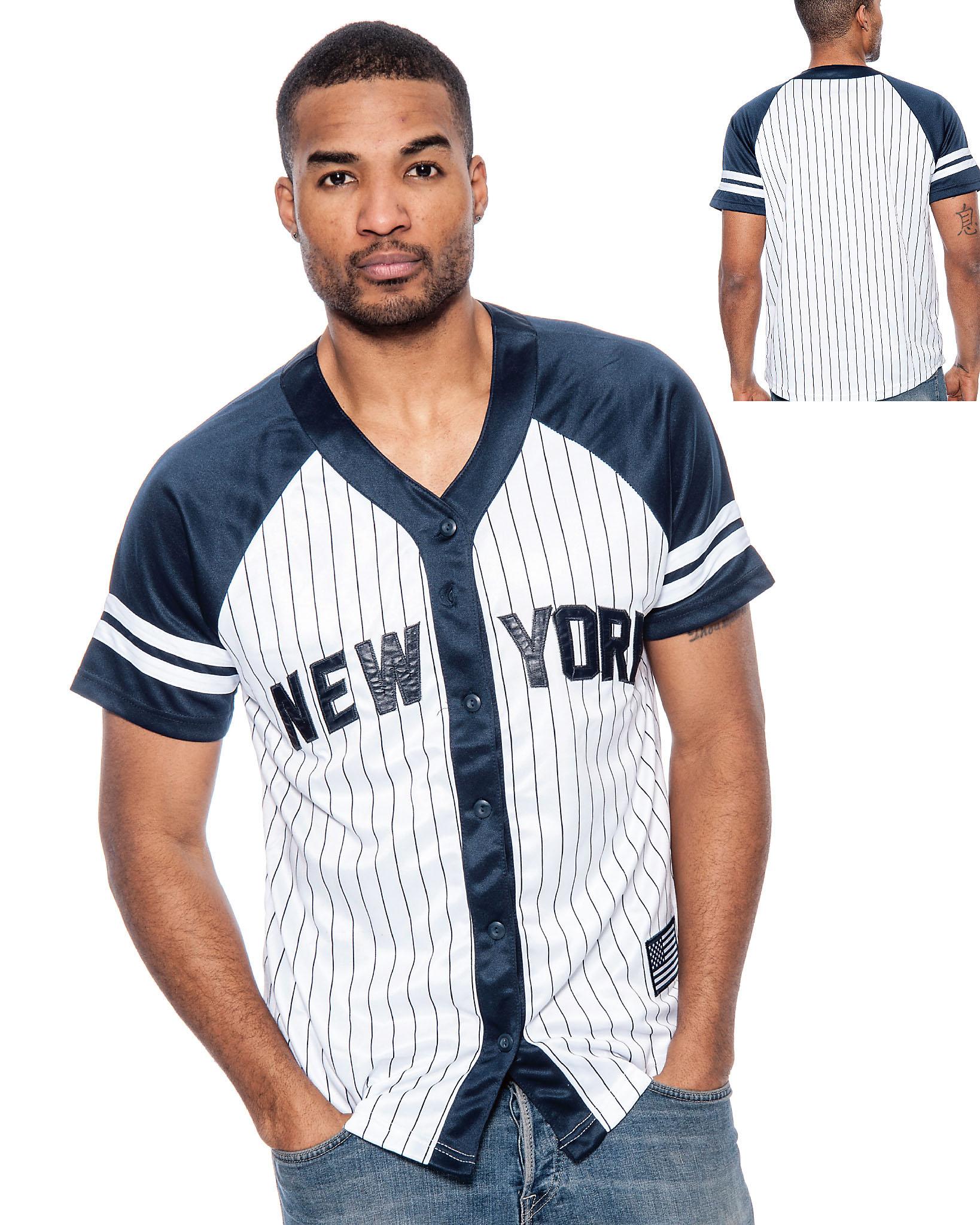 True-Rock-Men-039-s-New-York-Pinstripe-Baseball-Jersey