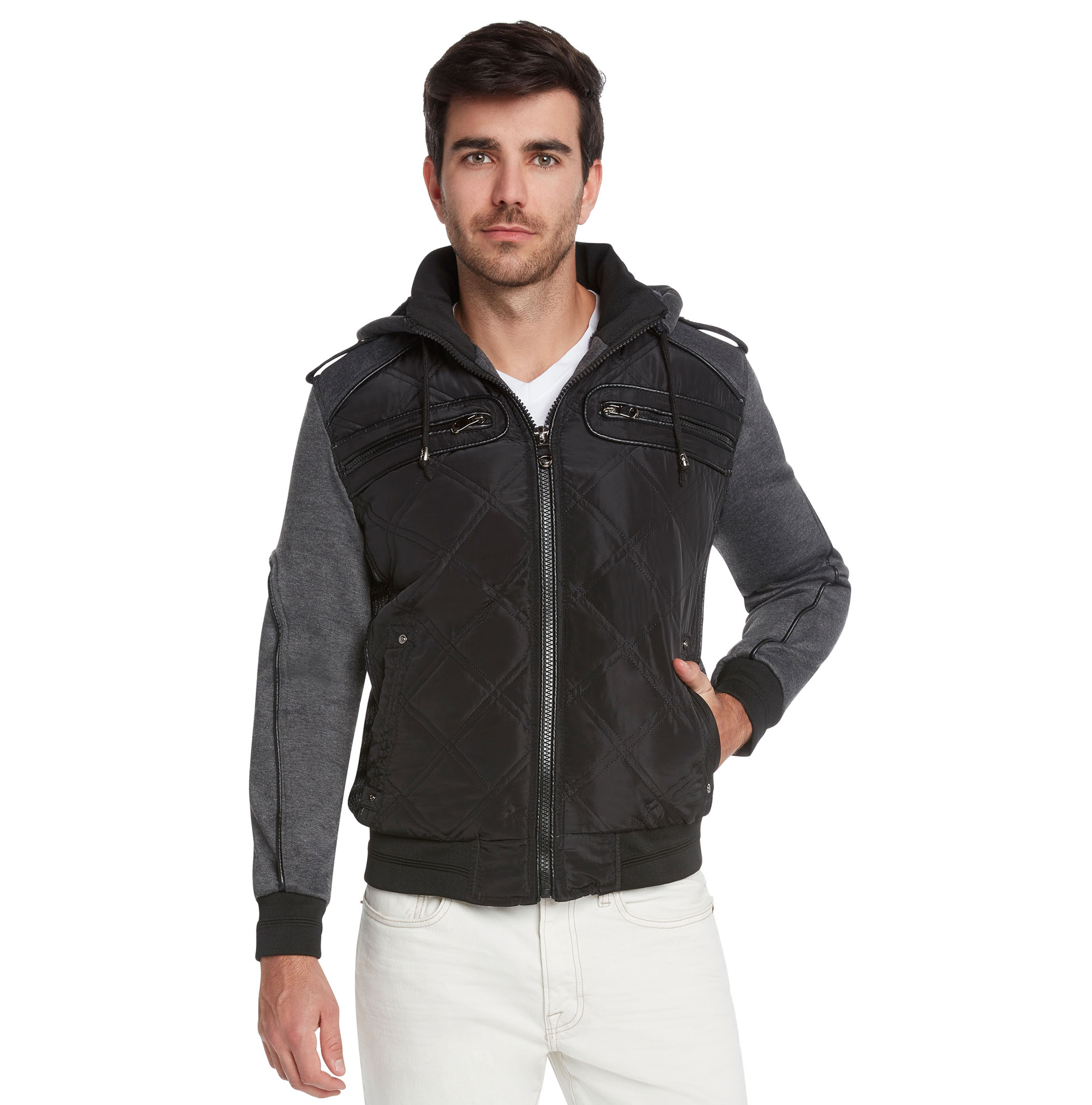 Mens-Winter-Coat-Quilted-Puffer-Jacket-Removable-Hood-