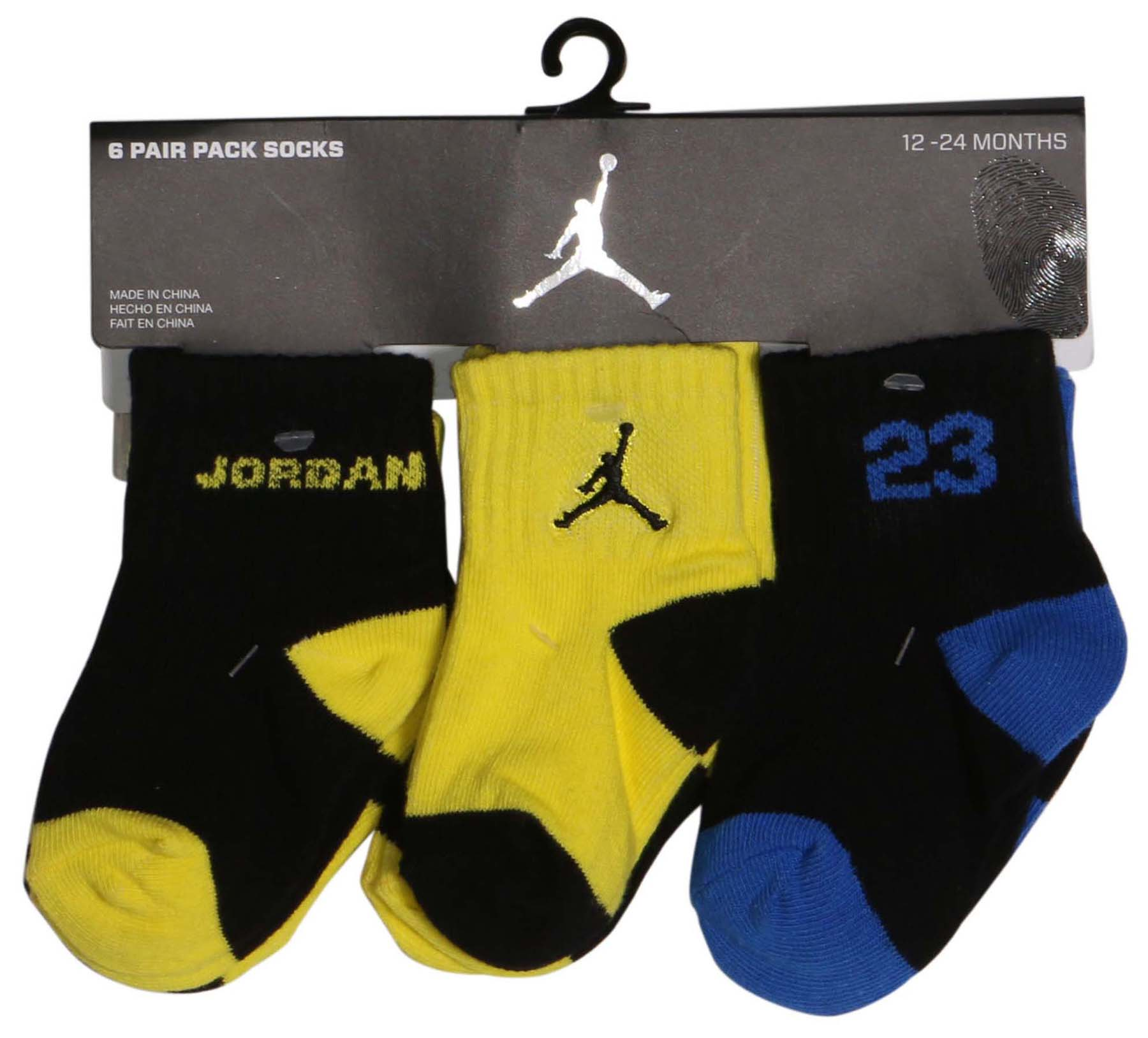 Jordan Infants 12M 24M Nike Legend 6 Pairs Jumpman Socks Blk Yllw