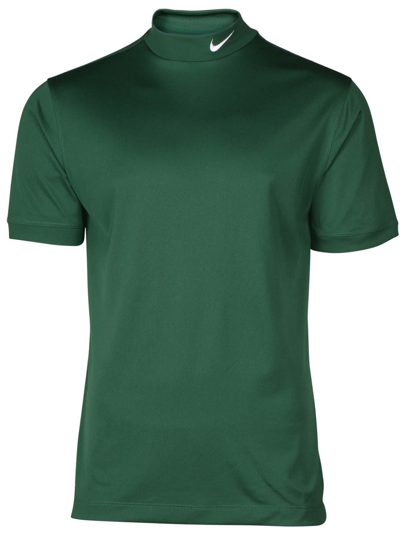 Nike men 39 s tech uv mock neck dri fit short sleeve shirt ebay for Mock crew neck shirts