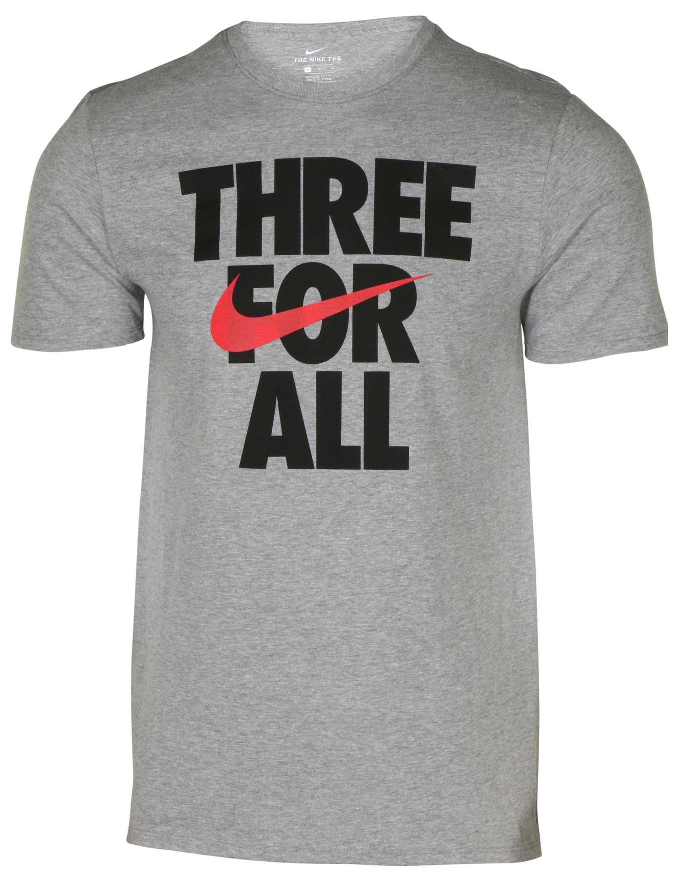 416331b591eb Nike Men s Three For All Swoosh Verbiage T-Shirt-Heather Grey