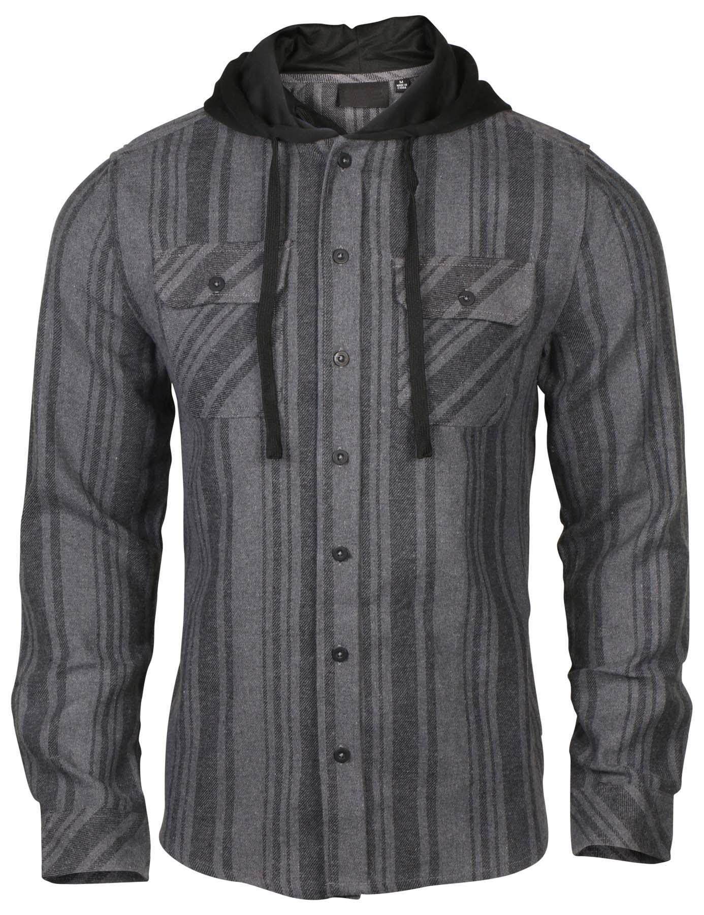 9 crowns men 39 s lightweight hoodie plaid flannel shirt ebay for 9 oz flannel shirt