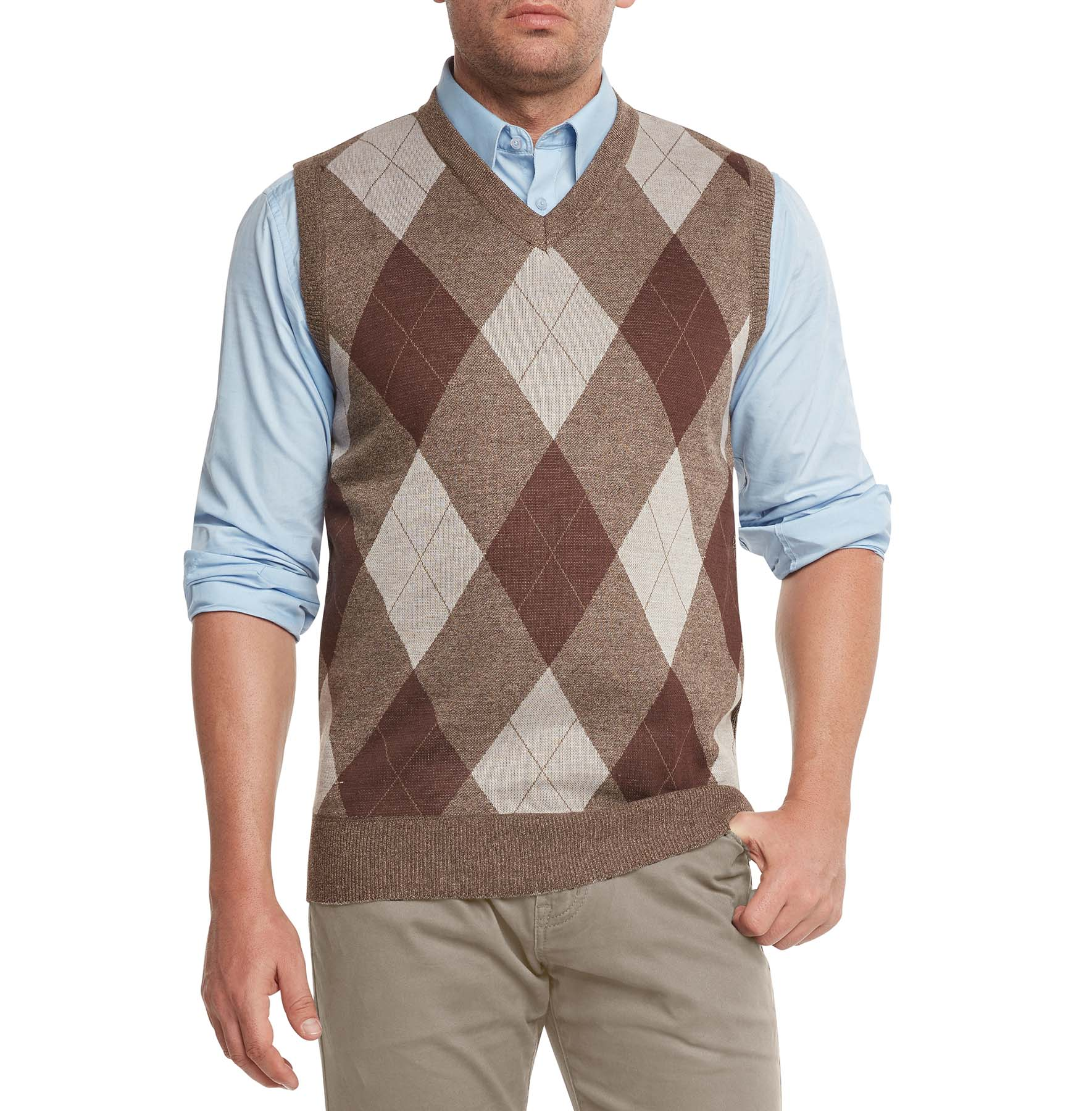 True Rock Mens Athletic Cut Argyle V Neck Sweater Vest Ebay