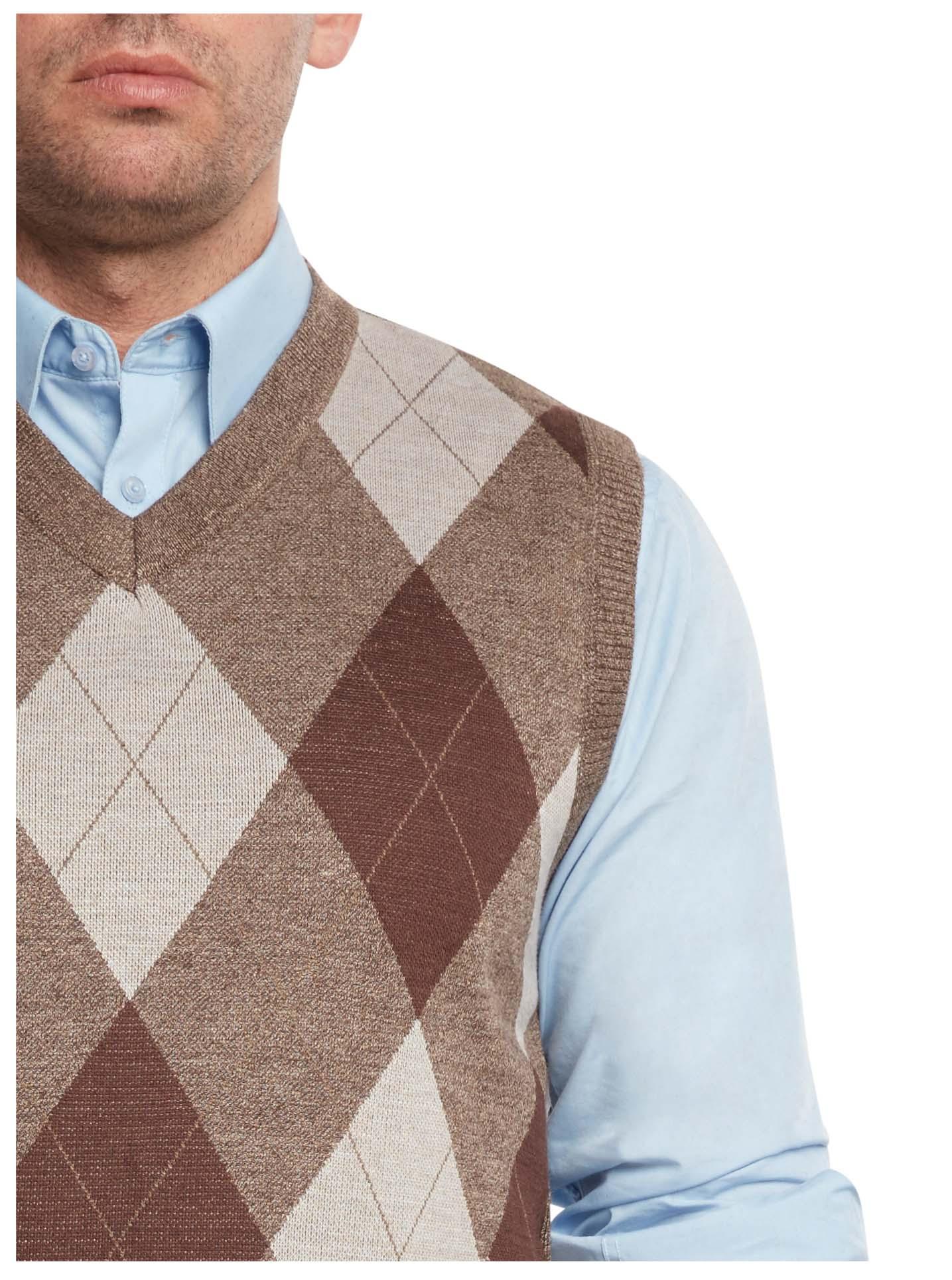 True Rock Men's Argyle V-neck Sweater Vest S Brown/beige | eBay