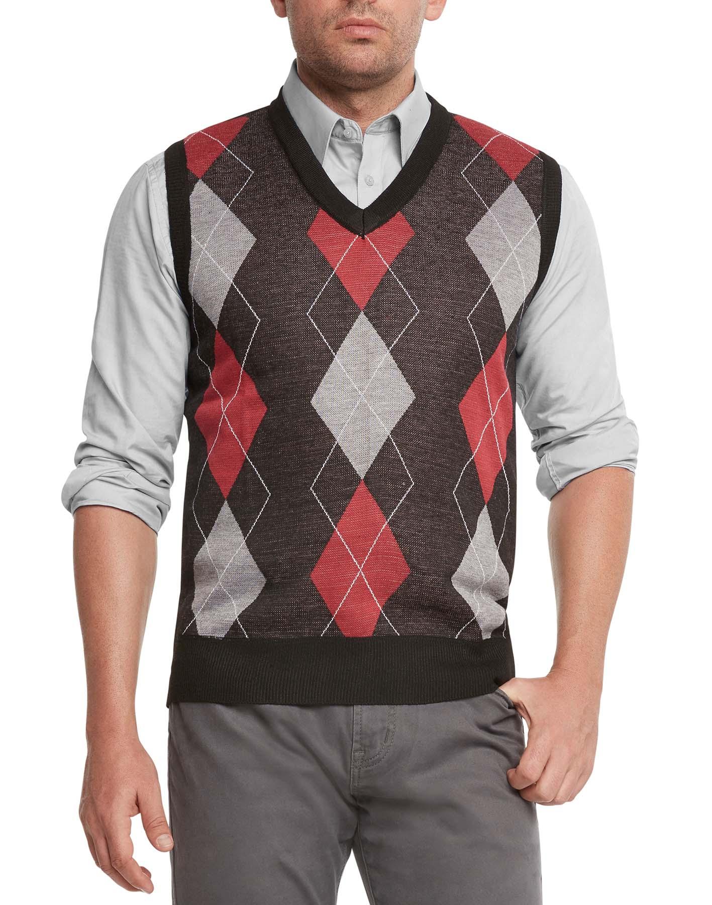 True Rock Men's Argyle V-neck Sweater Vest 2xl Black/red/gray | eBay