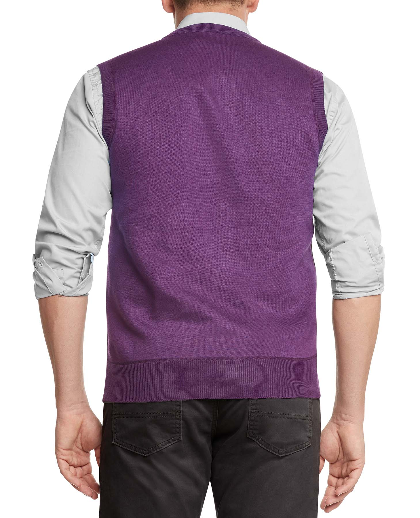 True Rock Men's Argyle V-neck Sweater Vest 2xl Purple/blk/gray | eBay