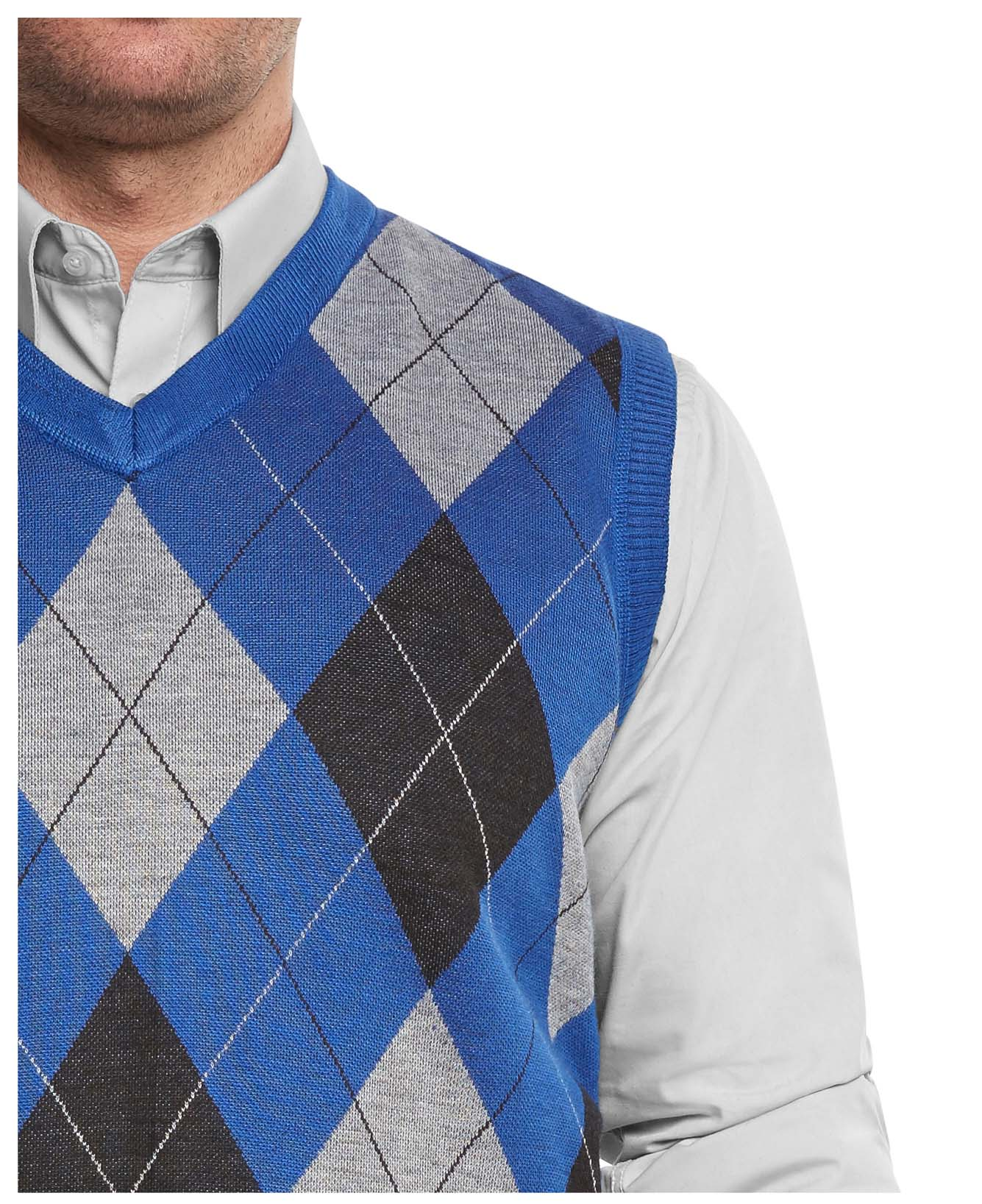 True Rock Men's Argyle V-neck Sweater Vest 2xl Royal/blk/gray | eBay