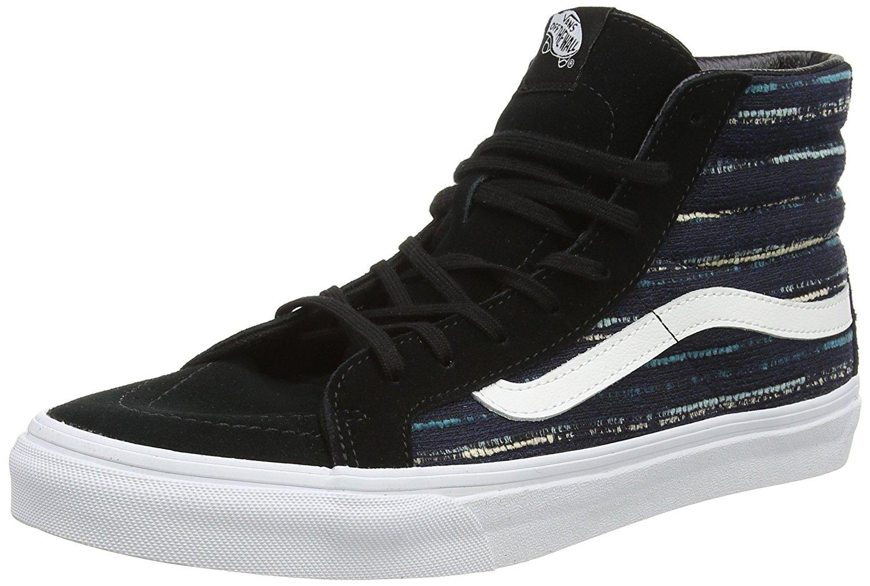 bf8b827ed58 Vans Unisex Sk8-Hi Slim Italian Weave Skate Shoes-Black Multi