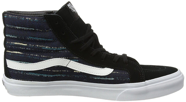 59467785b59486 Vans Unisex Sk8-Hi Slim Italian Weave Skate Shoes-Black Multi