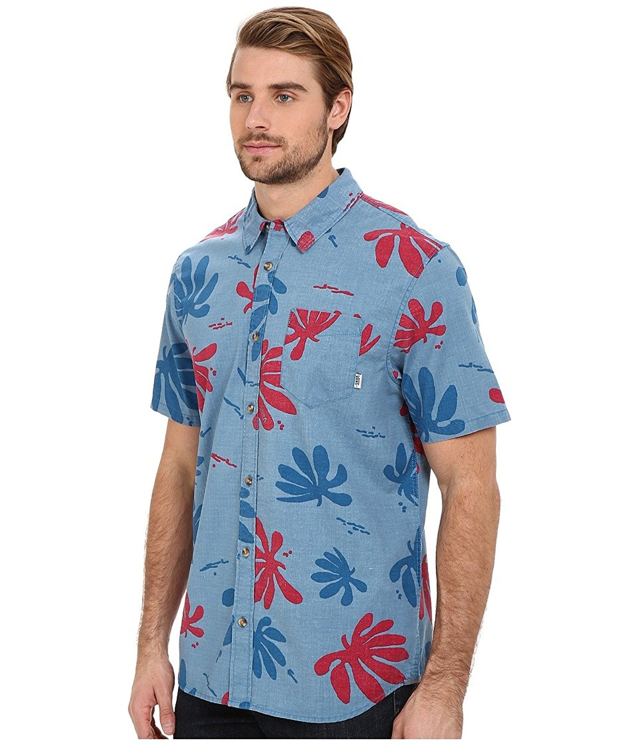 653fd73c58 Vans Men s Joel Tudor Montauk Hawaiian Shirt-Blue Red-Small ...