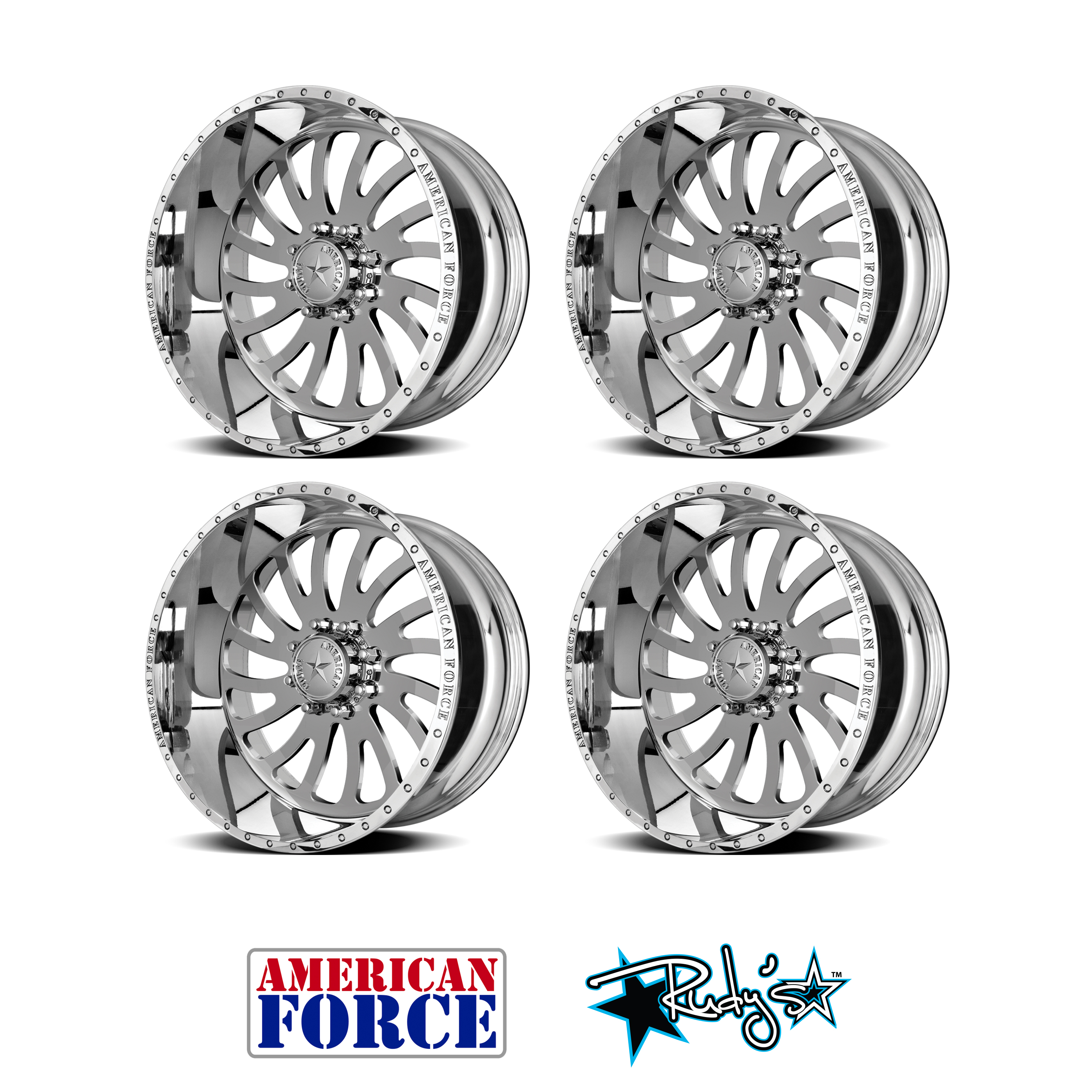 4 24x12 American Force Polished Ss8 Octane Wheels For Chevy Gmc Ford Dodge Ebay