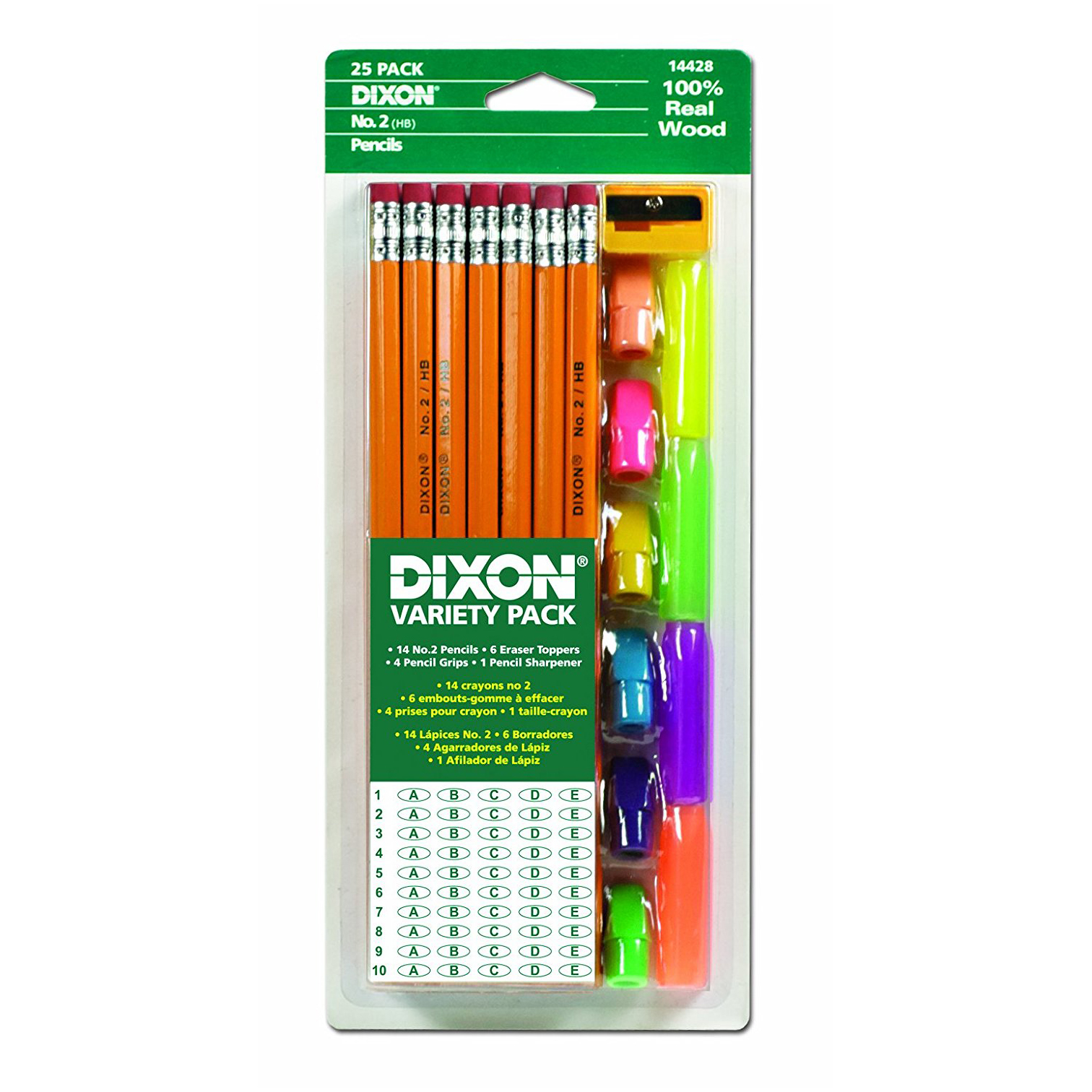 dixon scantron pencils testing pack 2 pencils erasers grips and