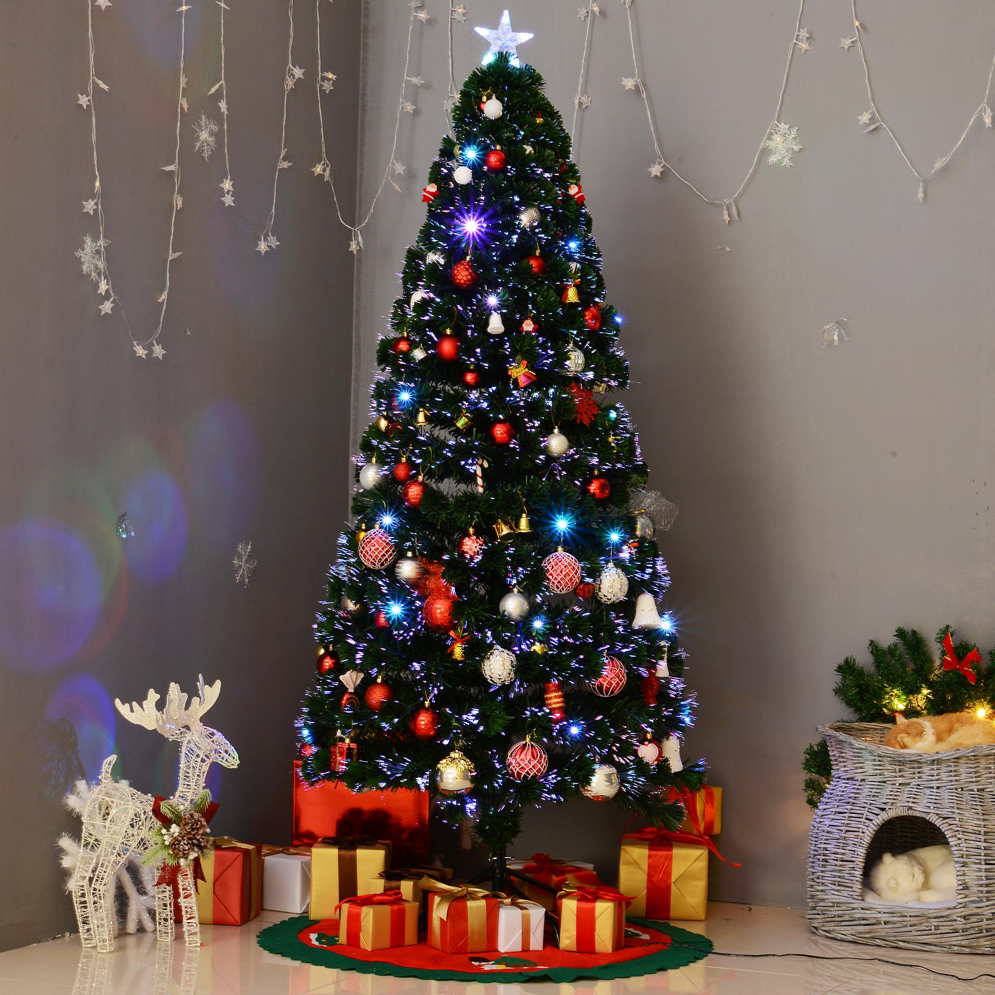 6 Pre Lit Fiber Optic Artificial Christmas Tree Colorful Led Lights Decorations 603161408236 Ebay
