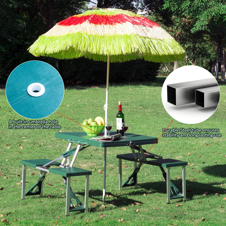 thumbnail 23 - Portable Folding Camping Picnic Table Party Outdoor Garden Chair Stools Set