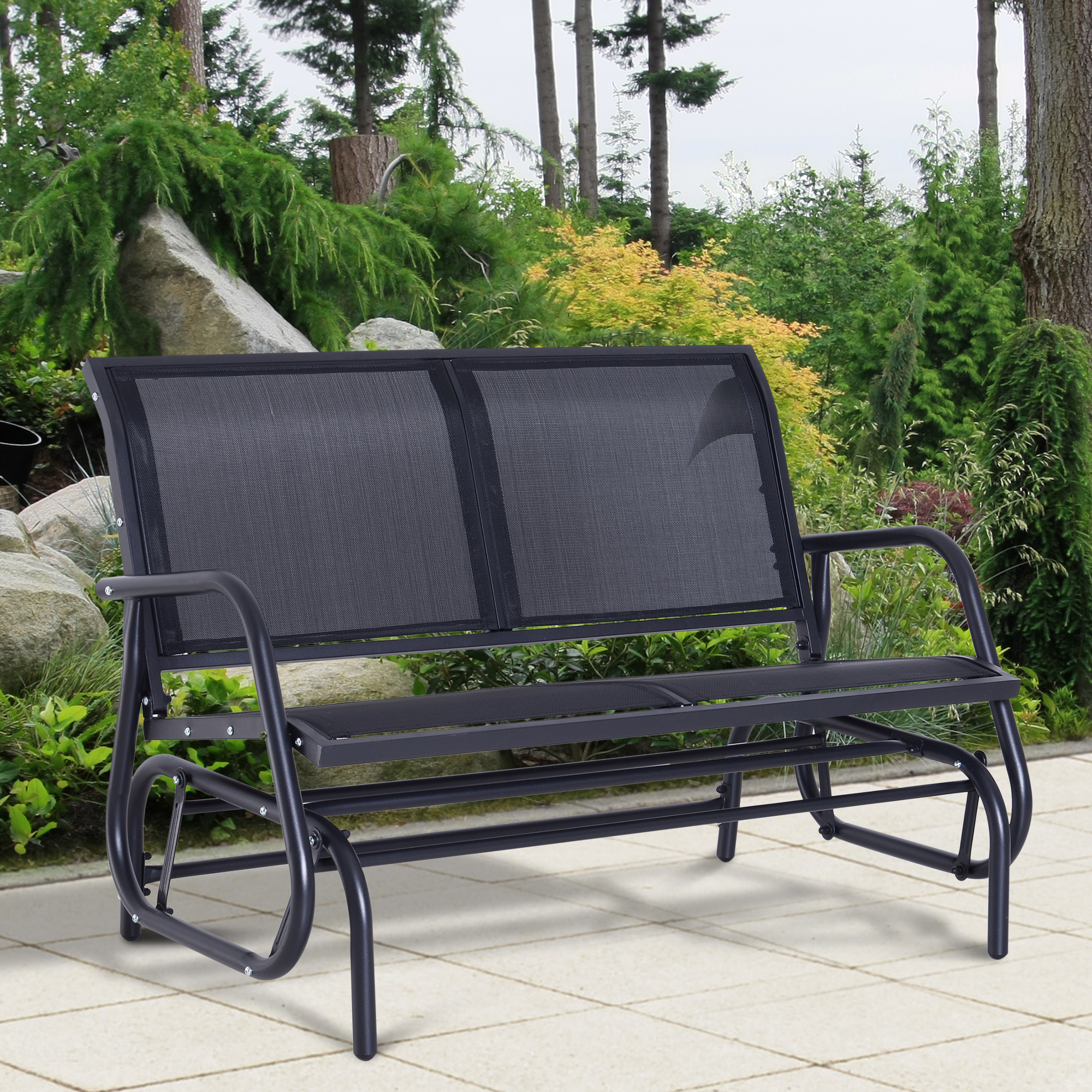 Amazing Details About Outsunny Patio Garden Glider Bench 2 Person Double Swing Chair Rocker Deck Black Gmtry Best Dining Table And Chair Ideas Images Gmtryco