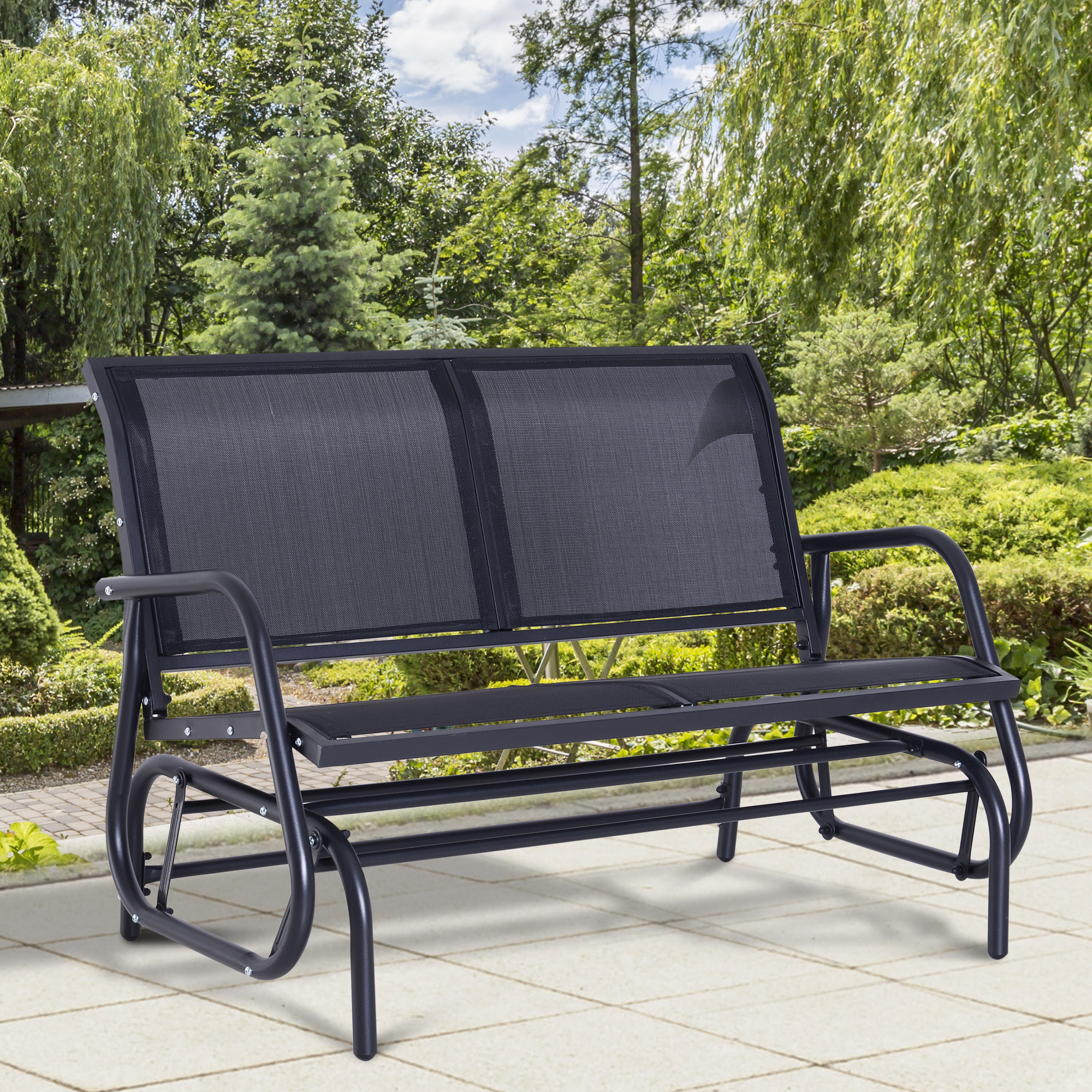Patio Chairs Swings Benches 2 Person Patio Glider Rocking Bench Double Chair Loveseat Armchair Garden Home Garden