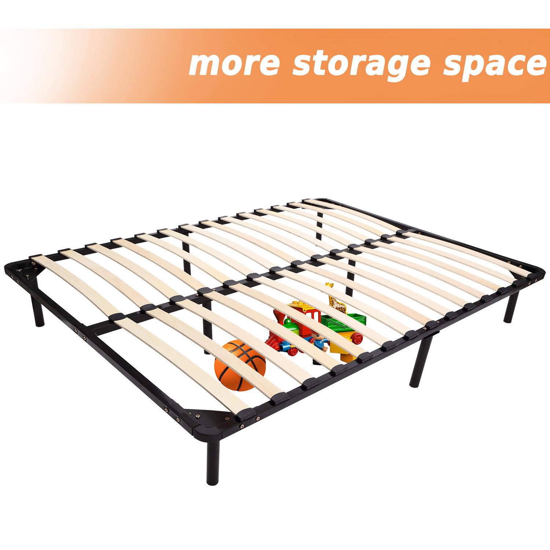 74 79 long full queen size wood slat platform bed frame sleeping metal mattress ebay. Black Bedroom Furniture Sets. Home Design Ideas