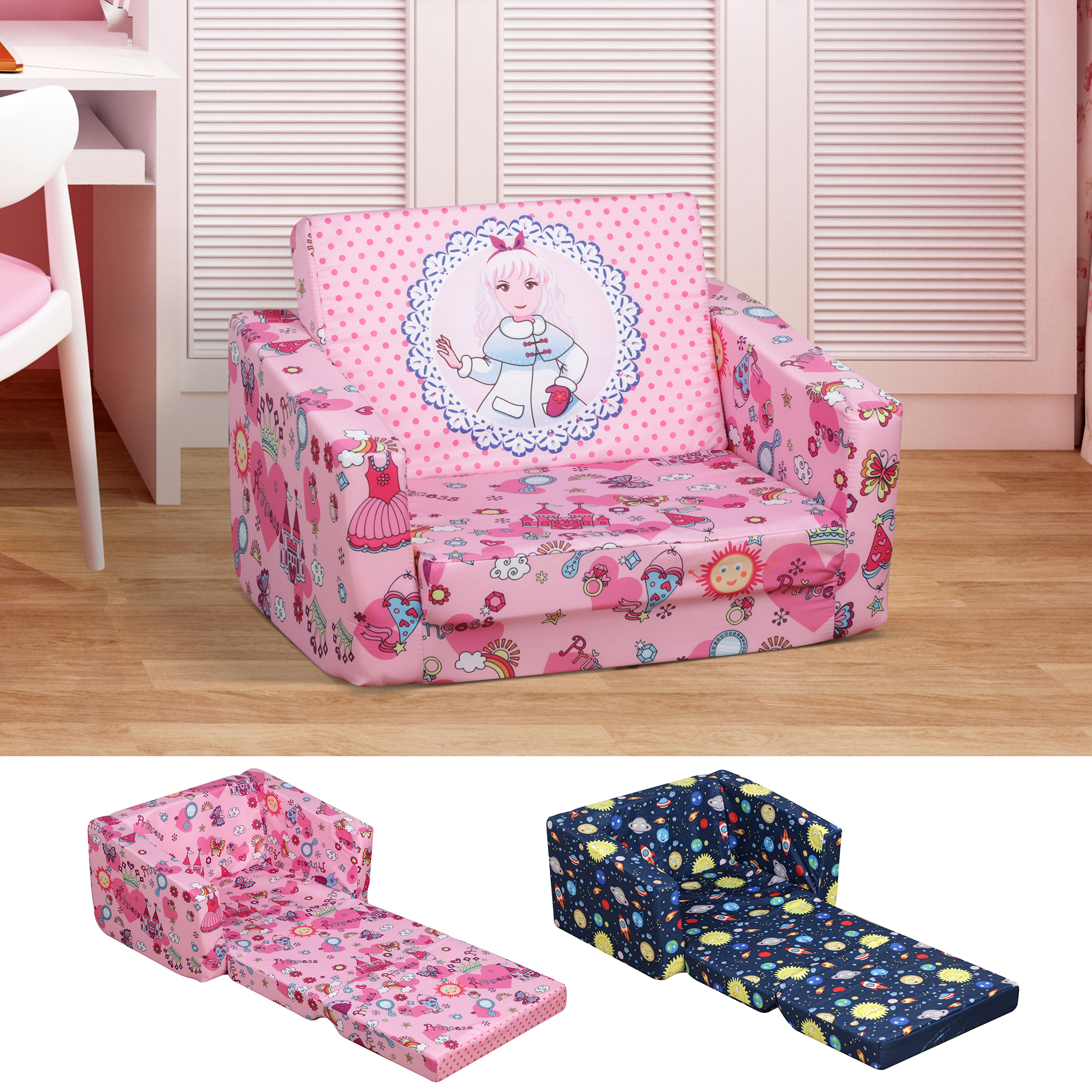 Picture of: Children Kids Mini Sofa Armchair Polyester Comfortable Dual Use Washable Ebay