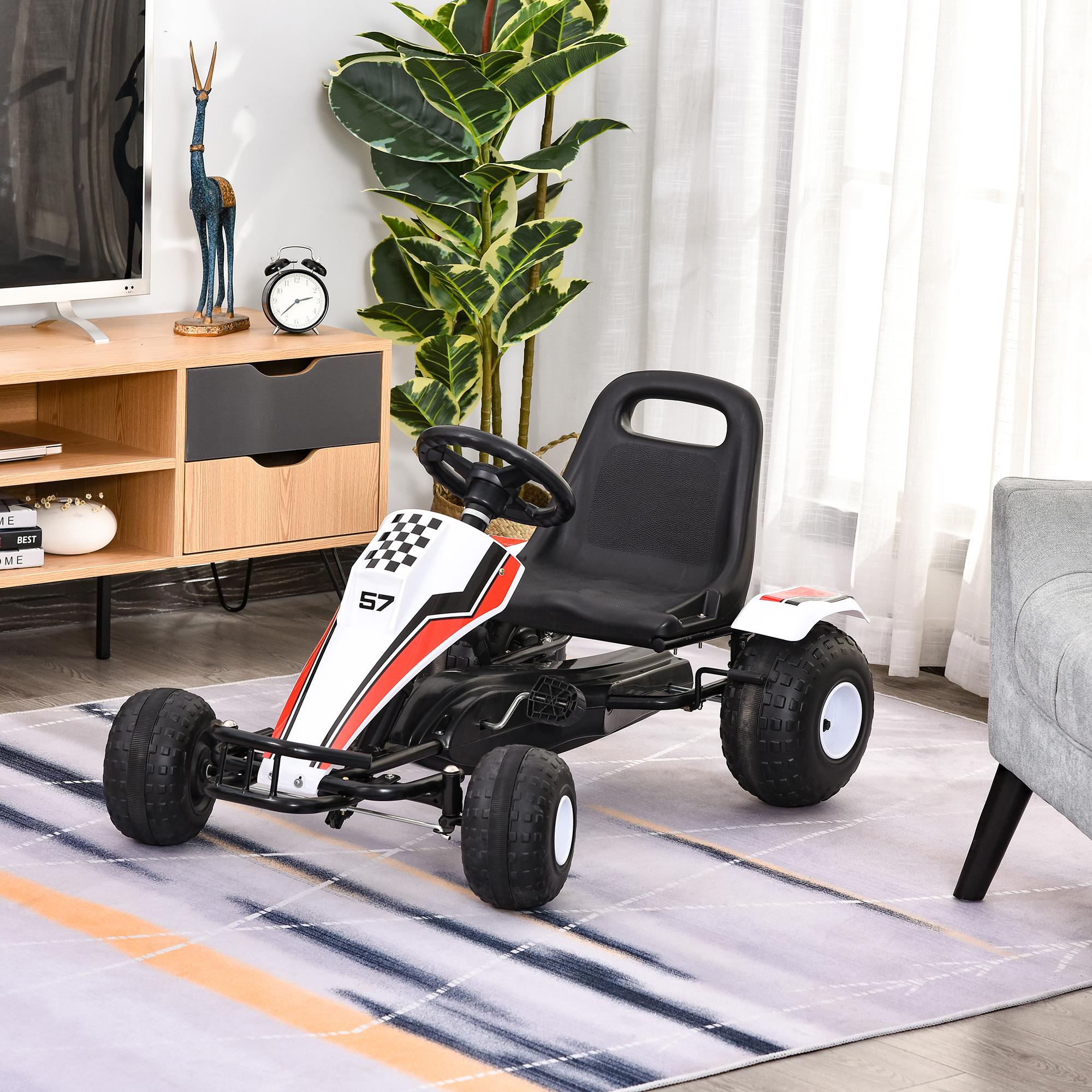 AchieveUSA Kids Powered 4 Wheel Adjustable Seat Pedal Go Kart-Red