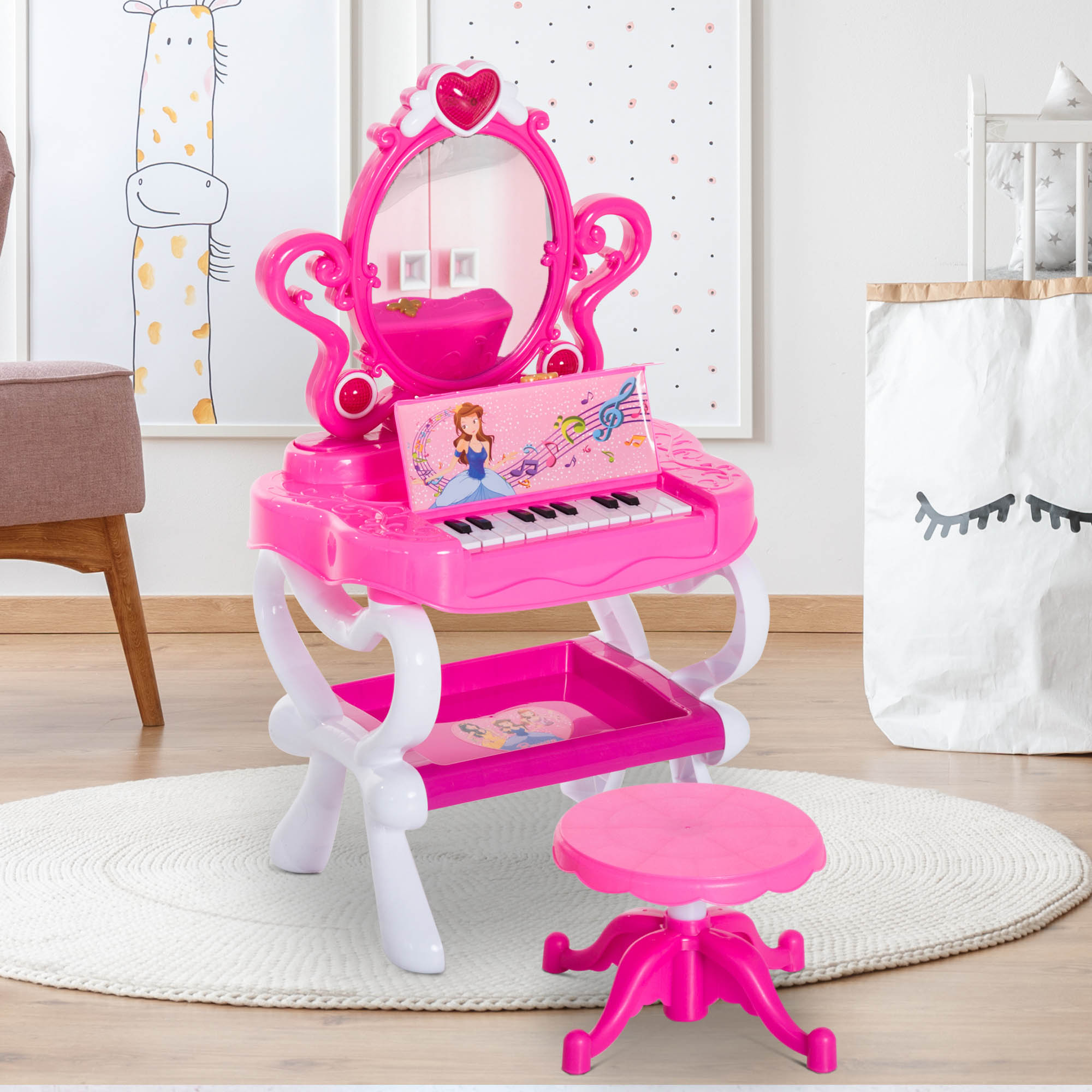 timeless design b82f0 45d10 Details about Kid Vanity Piano Table Set Flashing Lights Girls Makeup  Playset Princess Desk