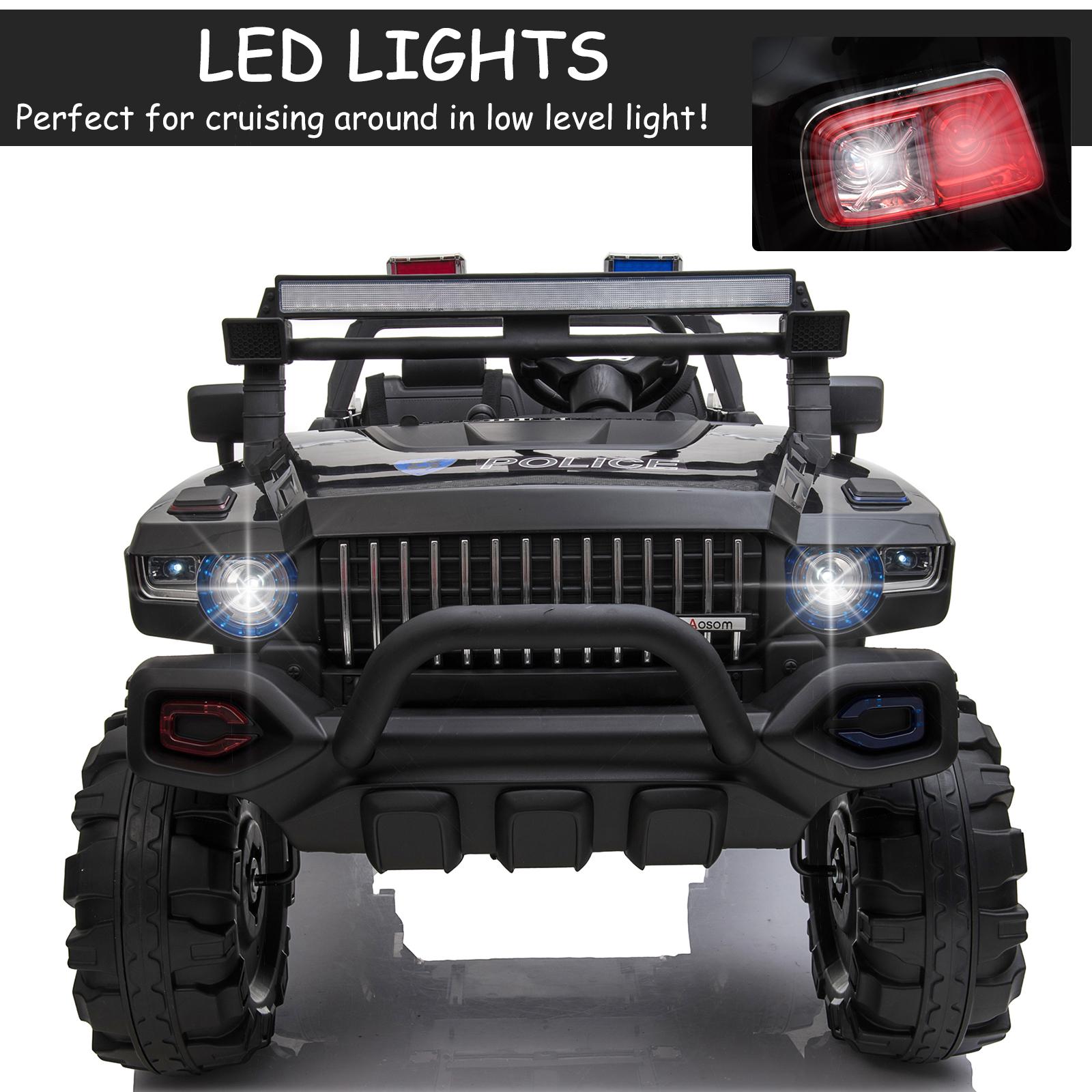 Aosom 12V RC 2-Seater Kids Ride-On Police Truck, LED
