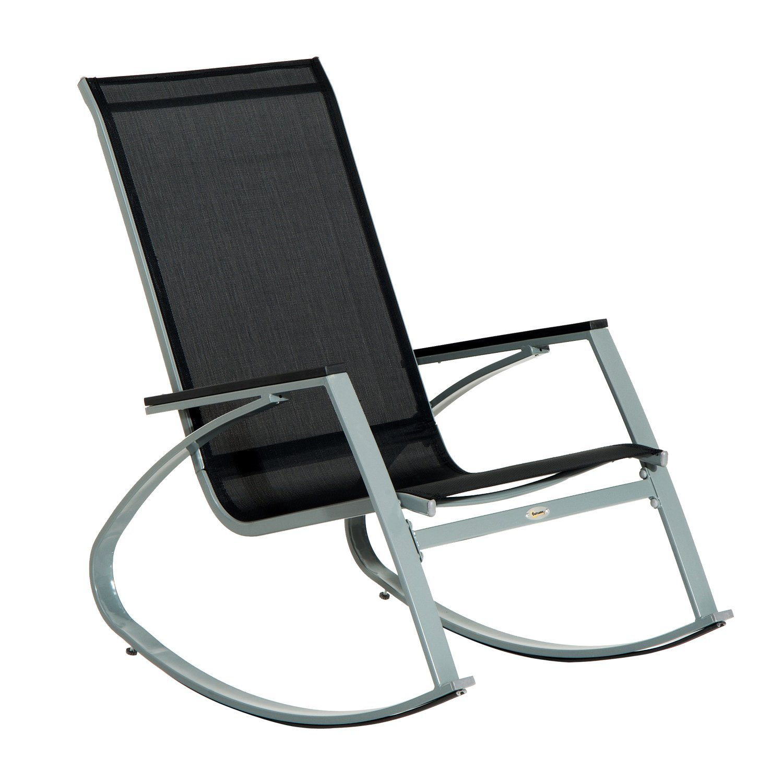 Outdoor Rocking Chair Steel Patio Furniture Mesh Seat Rocker Garden Poolside